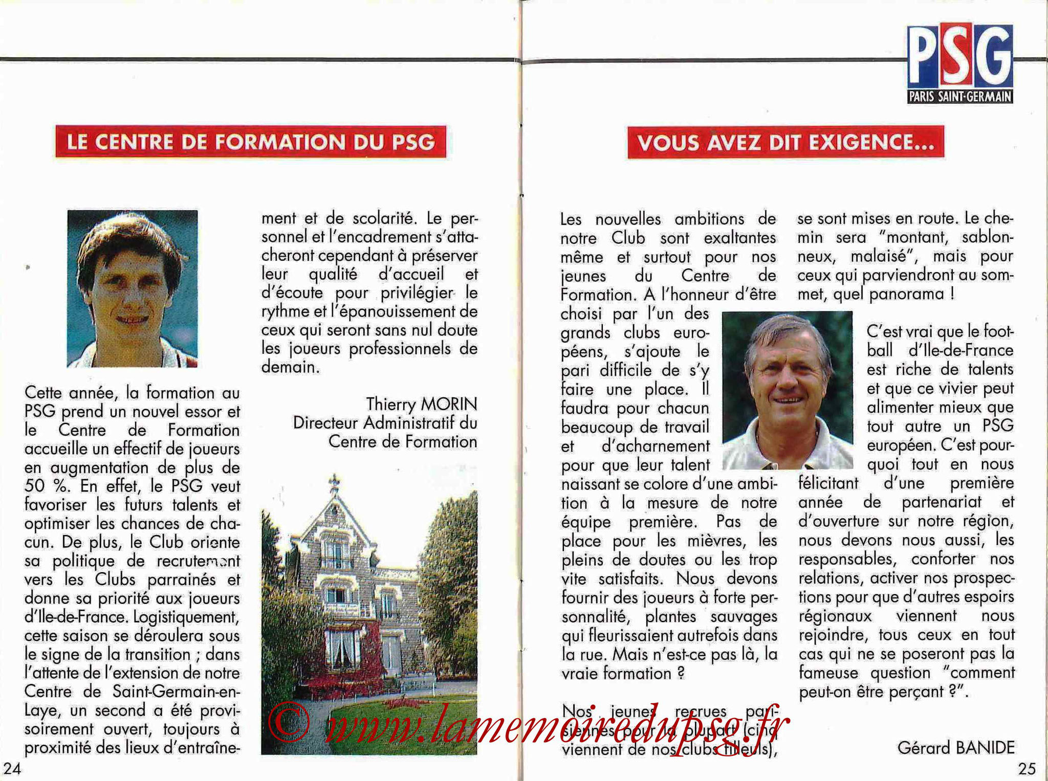 1992-93 - Guide de la Saison PSG - Pages 24 et 25