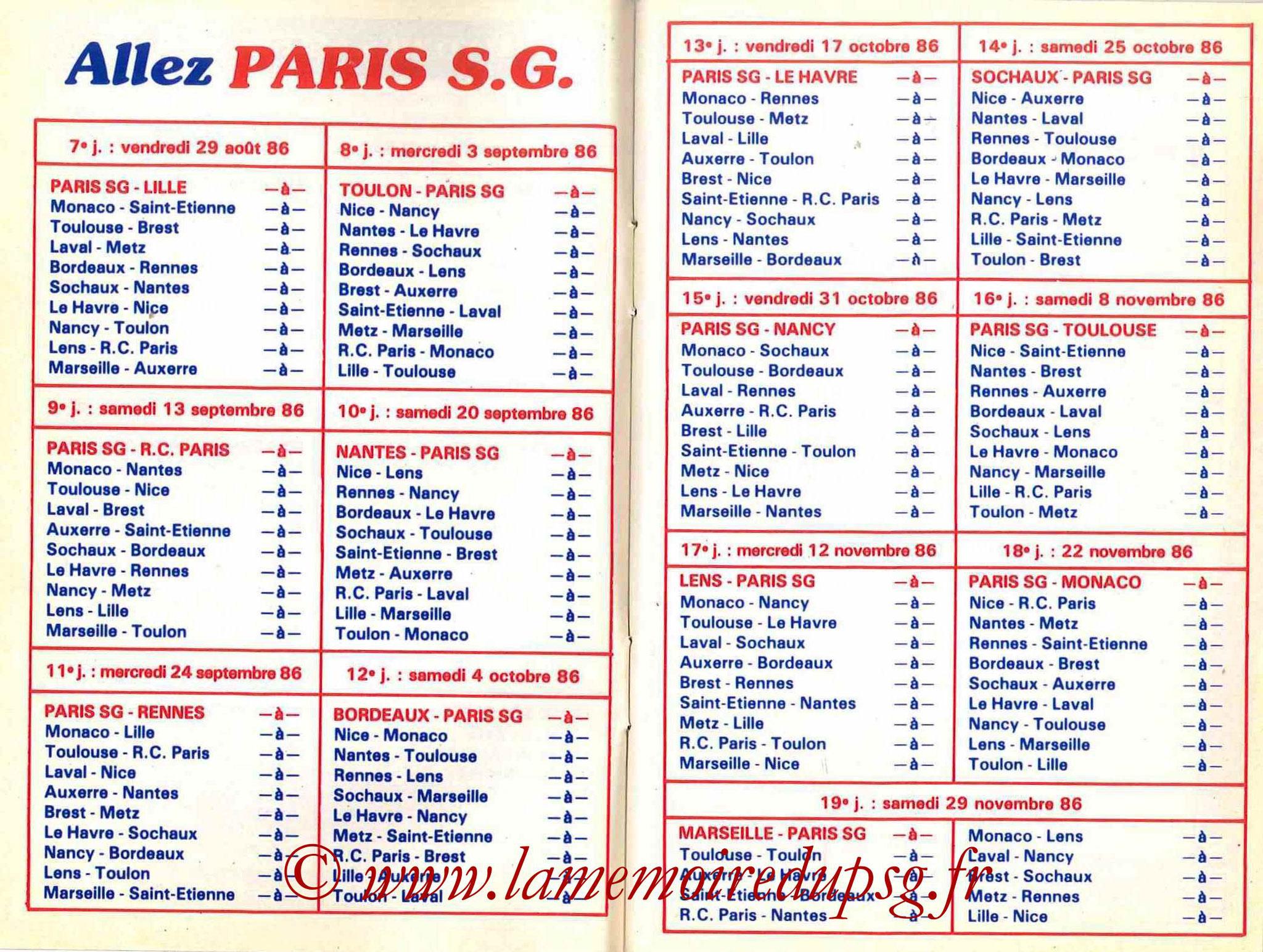 1986-87 - Guide de la Saison PSG - Pages 6 et 7