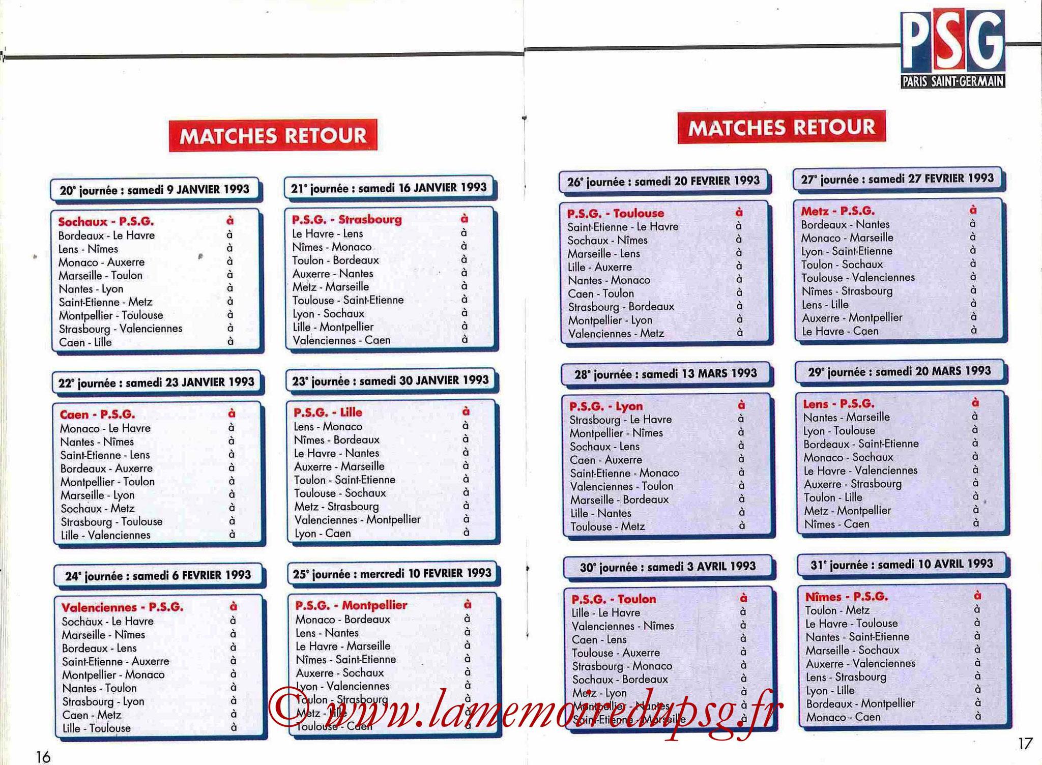 1992-93 - Guide de la Saison PSG - Pages 16 et 17