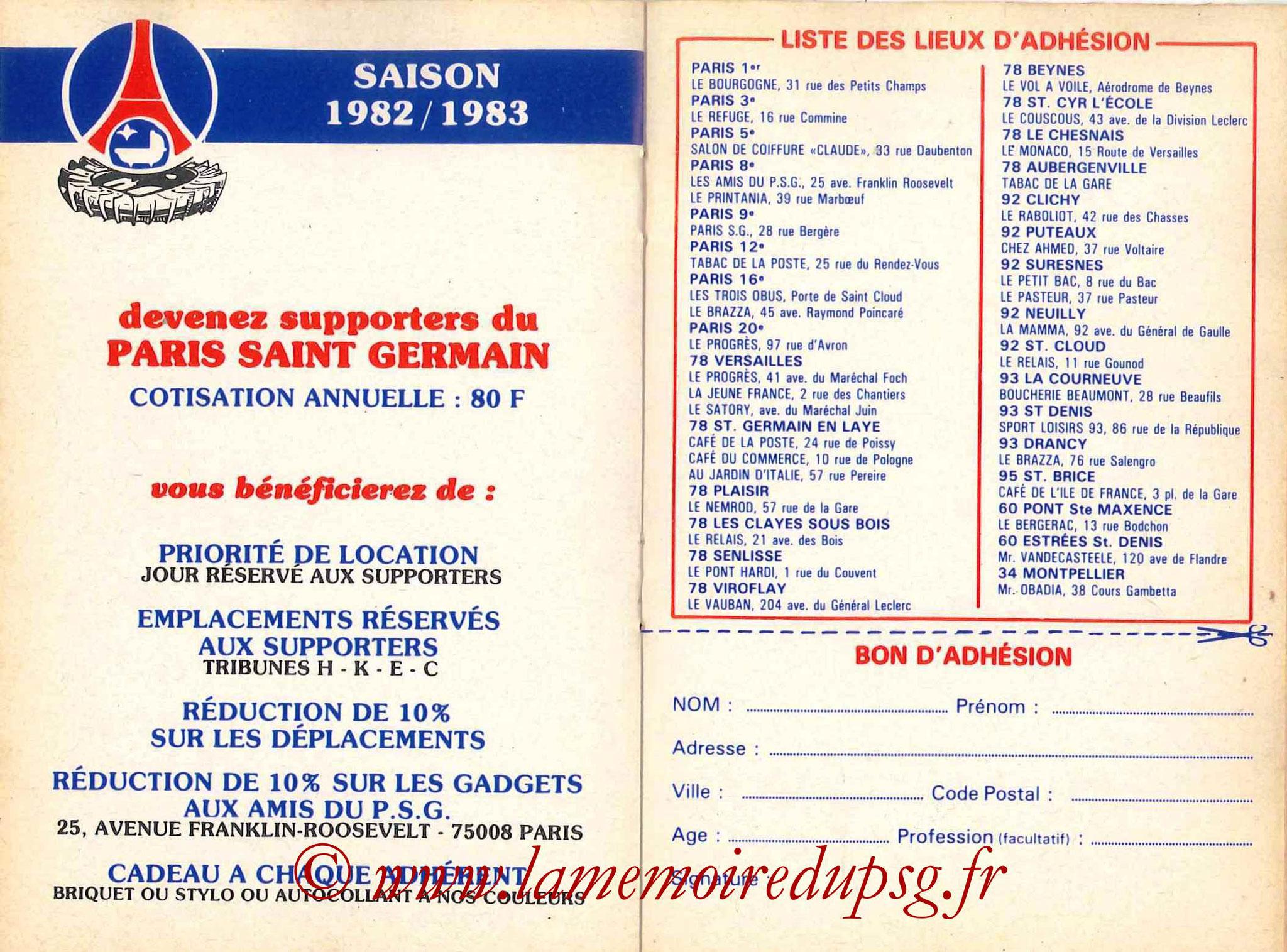 1982-83 - Guide de la Saison PSG - Pages 14 et 15