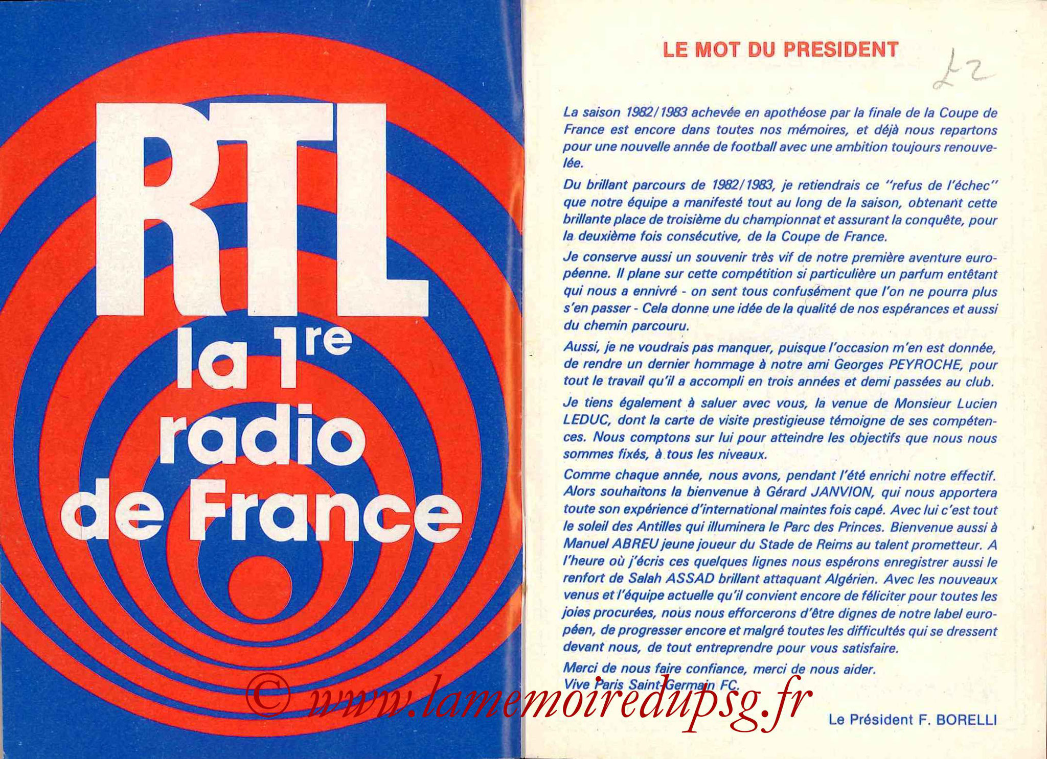 1983-84 - Guide de la Saison PSG - Pages 2 et 3