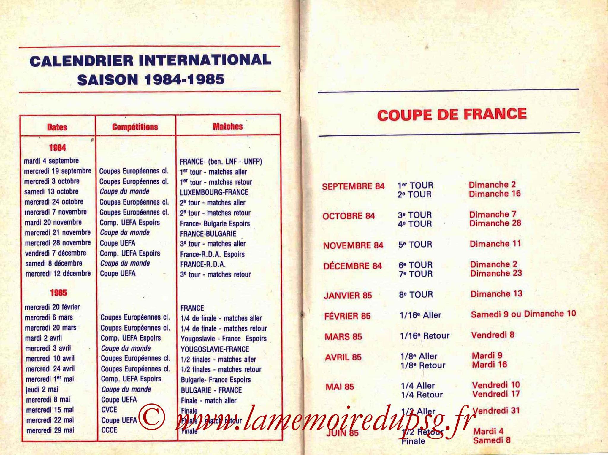 1984-85 - Guide de la Saison PSG - Pages 28 et 29