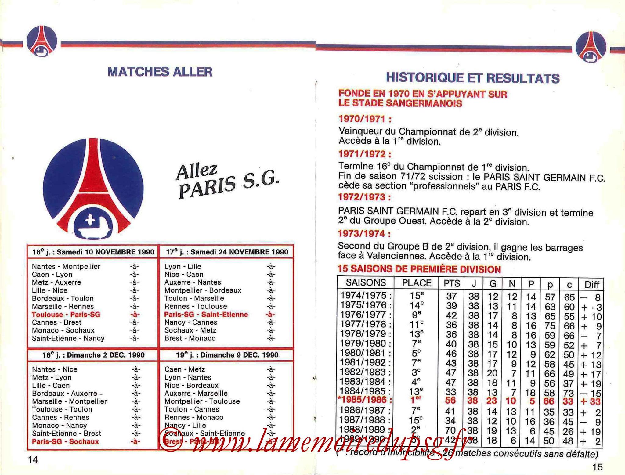 1990-91 - Guide de la Saison PSG - Pages 14 et 15