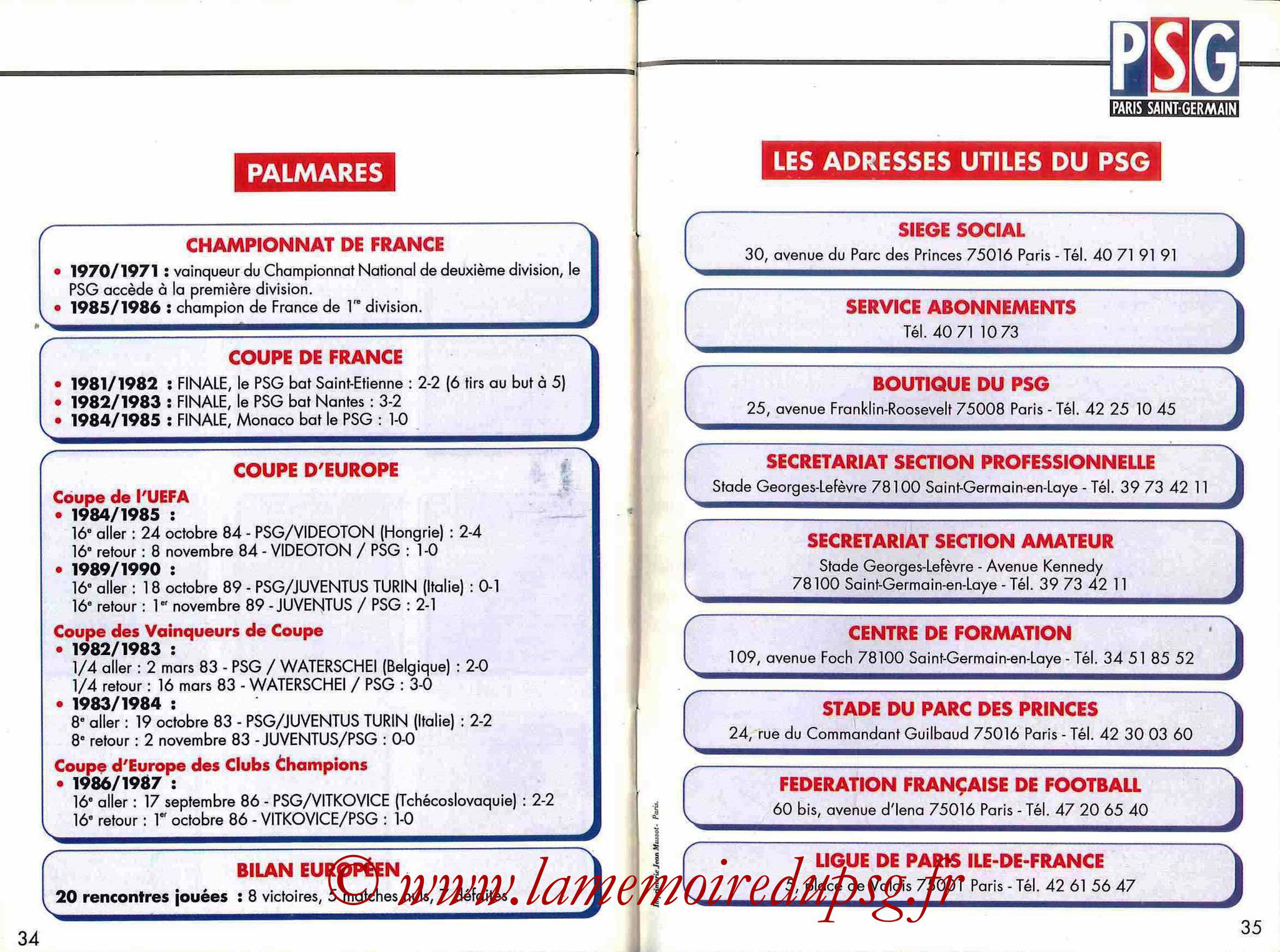 1992-93 - Guide de la Saison PSG - Pages 34 et 35