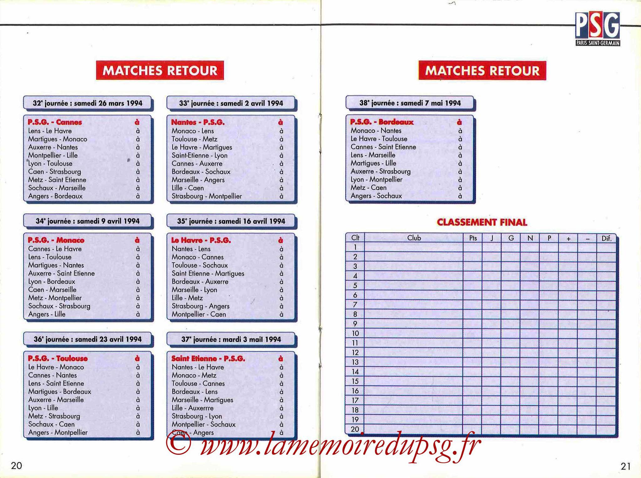 1993-94 - Guide de la Saison PSG - Pages 20 et 21