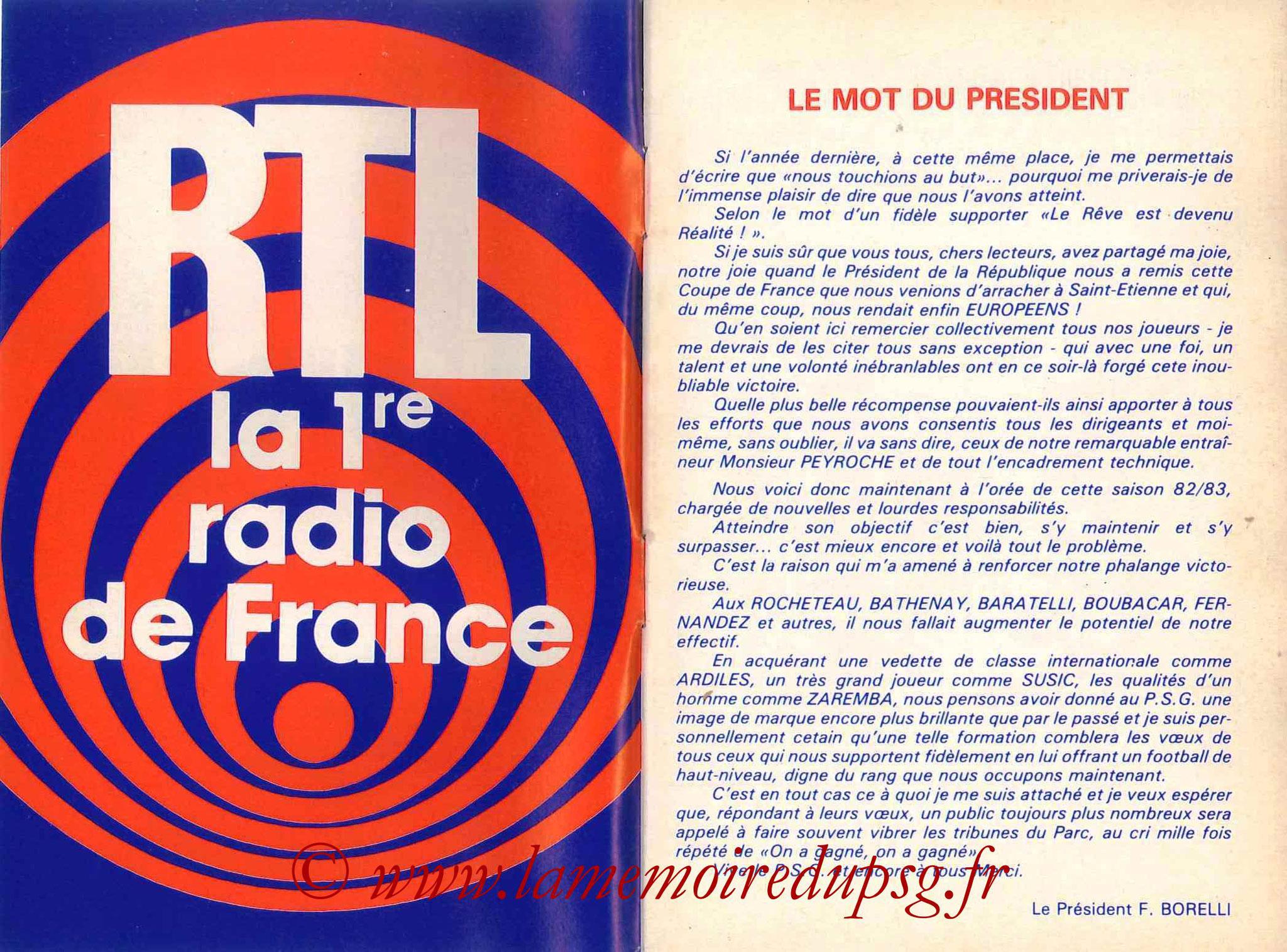 1982-83 - Guide de la Saison PSG - Pages 2 et 3