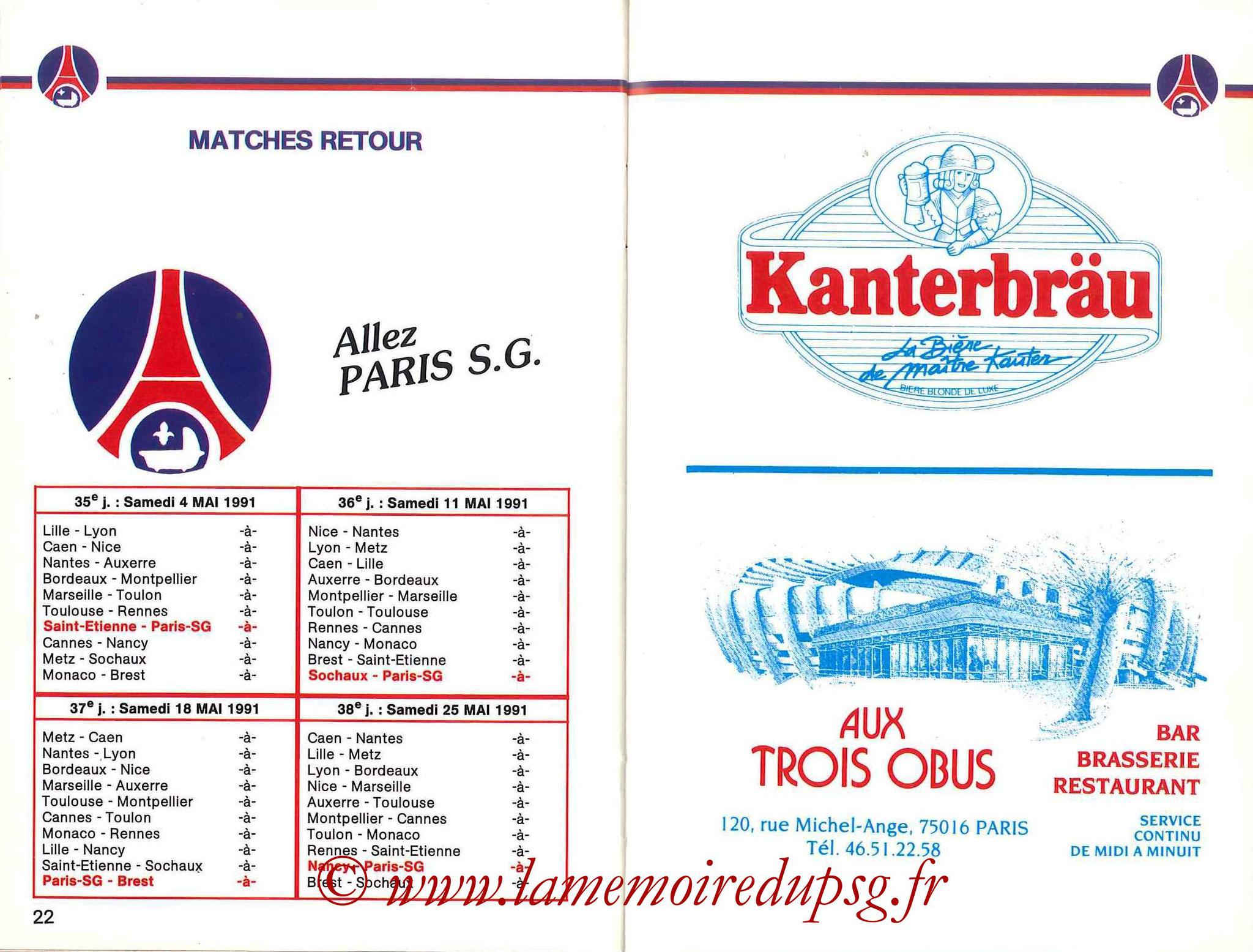 1990-91 - Guide de la Saison PSG - Pages 22 et 23