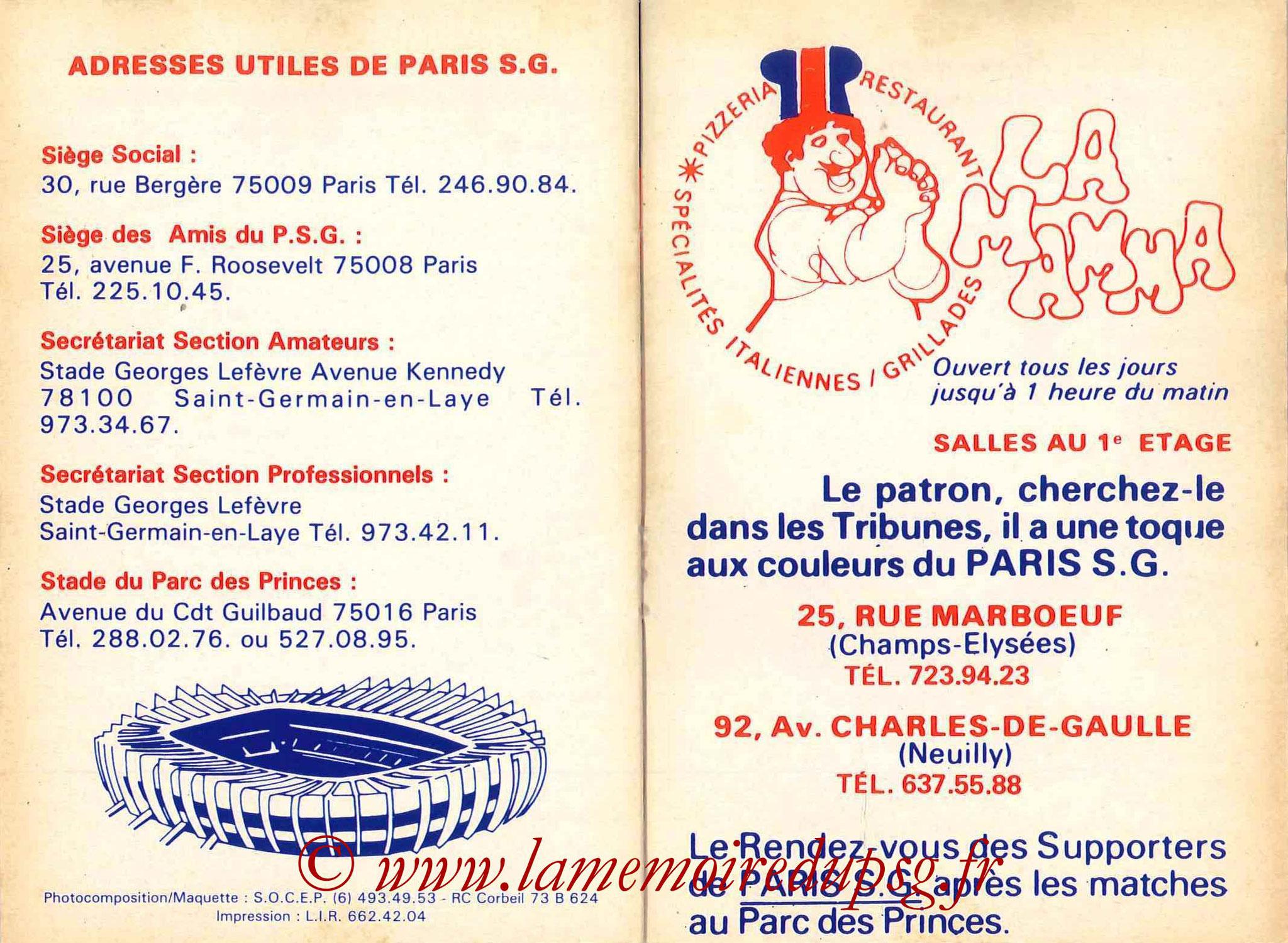 1982-83 - Guide de la Saison PSG - Pages 22 et 23