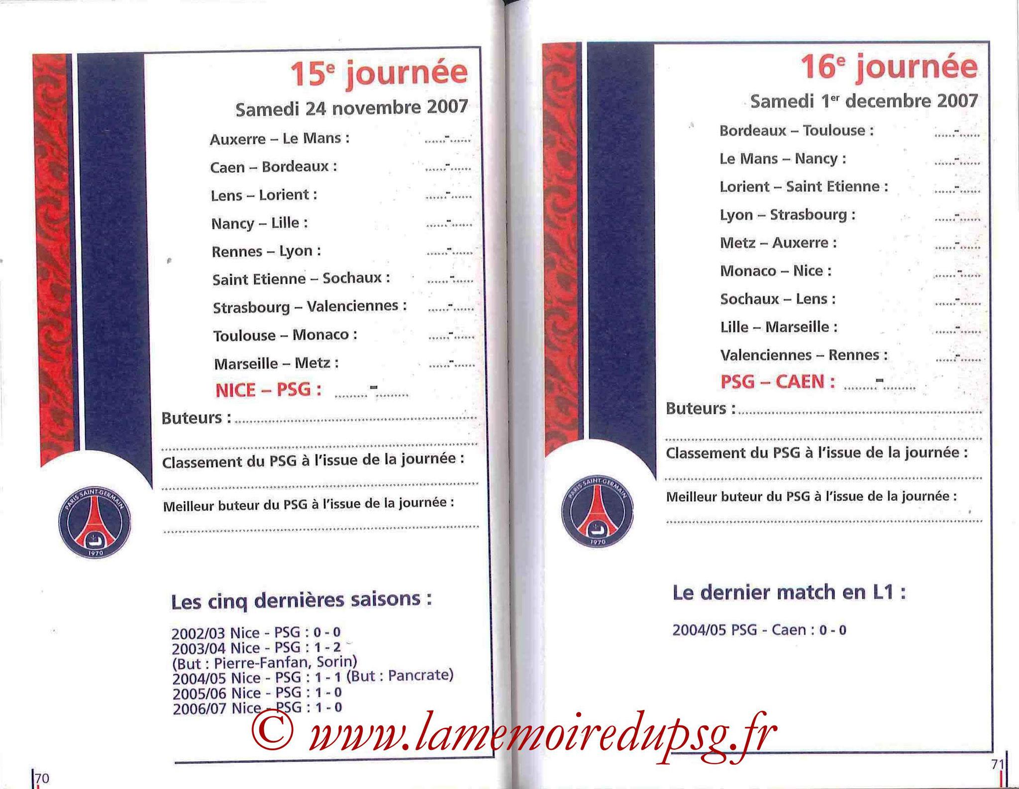 2007-08 - Guide de la Saison PSG - Pages 70 et 71