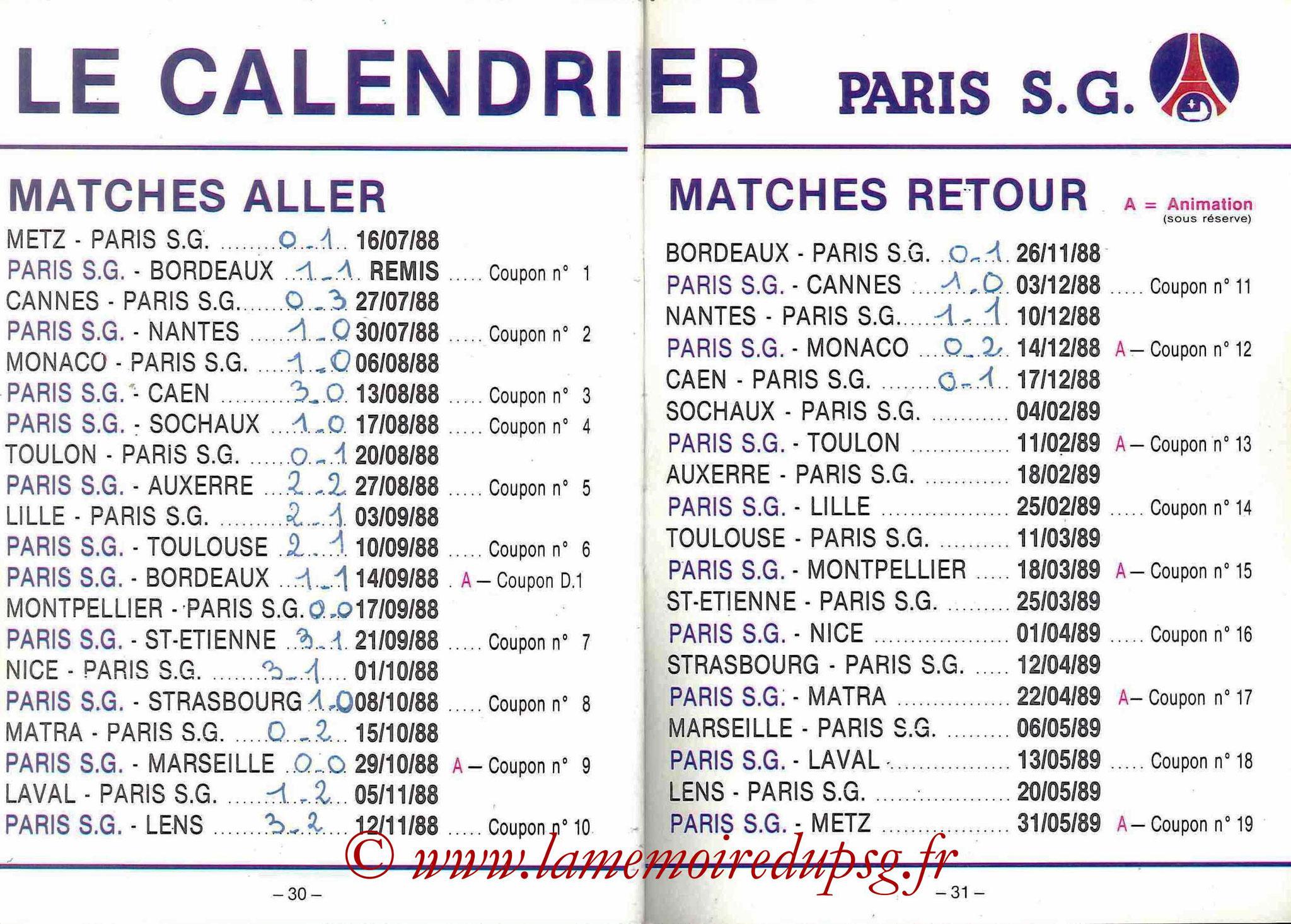 1988-89 - Passeport Abonné du PSG - Pages 30 et 31