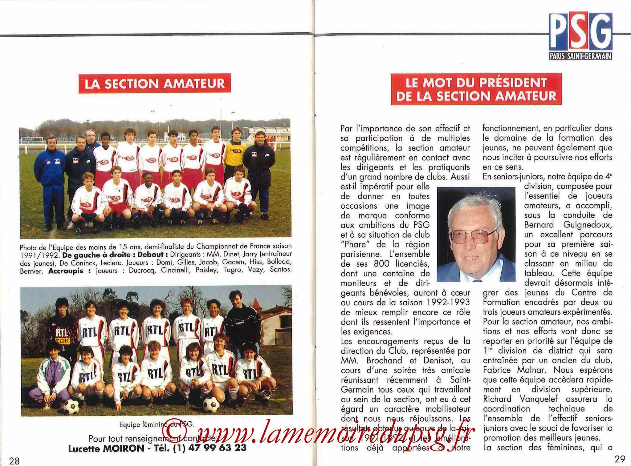 1992-93 - Guide de la Saison PSG - Pages 28 et 29