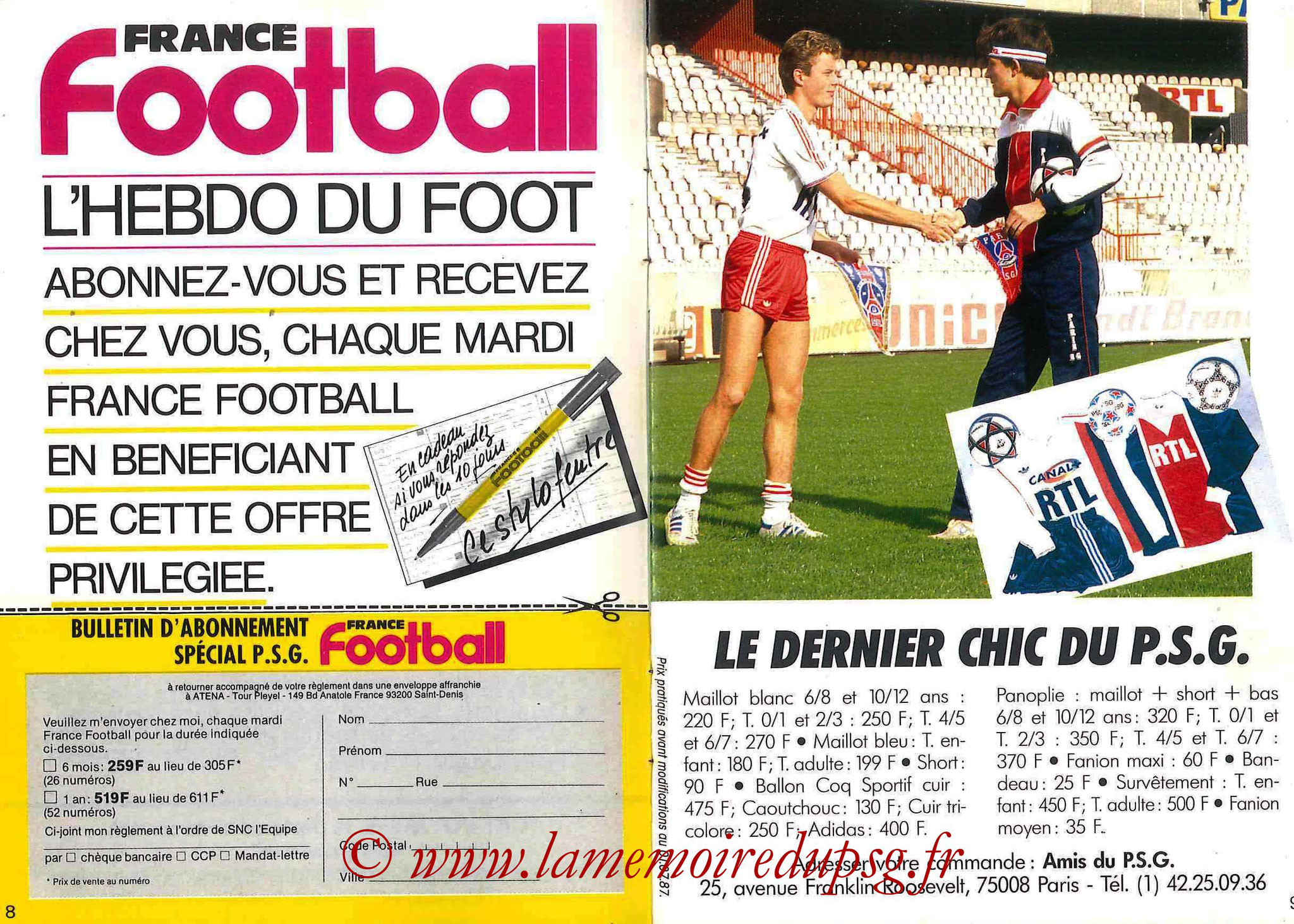 1987-88 - Passeport Abonné du PSG - Pages 8 et 9