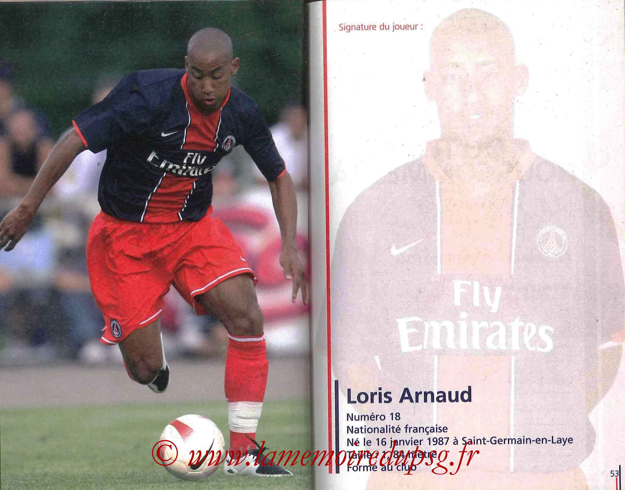 2007-08 - Guide de la Saison PSG - Pages 52 et 53 - Loris ARNAUD