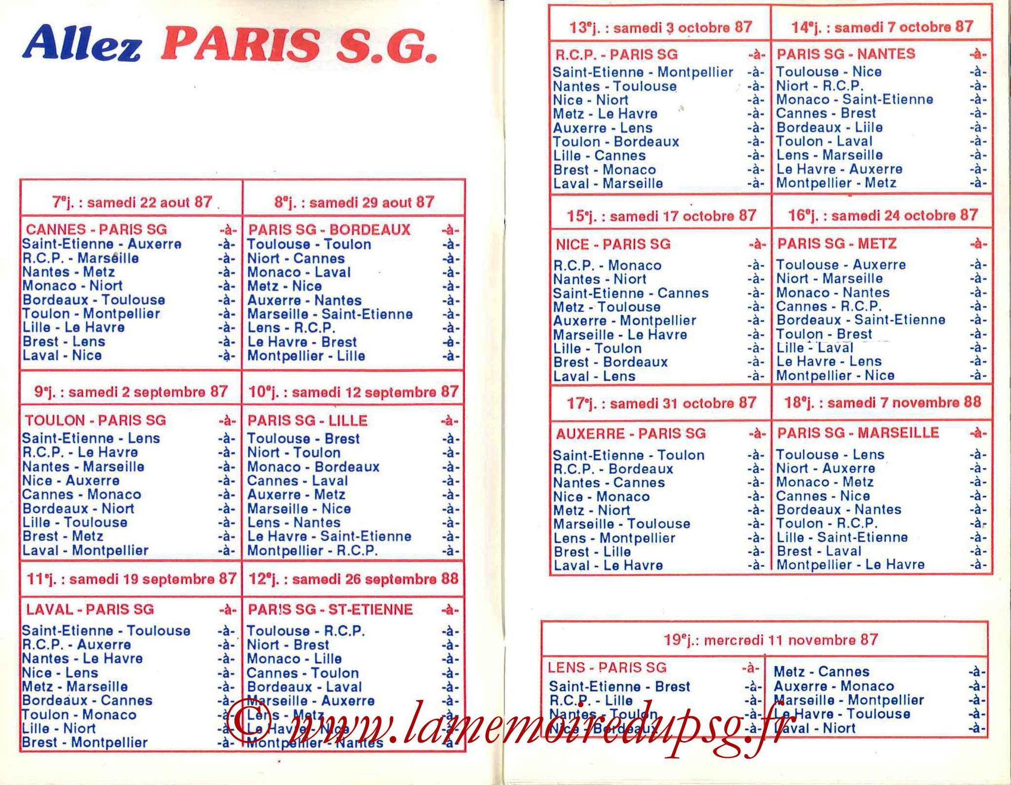 1987-88 - Guide de la Saison PSG - Pages 6 et 7