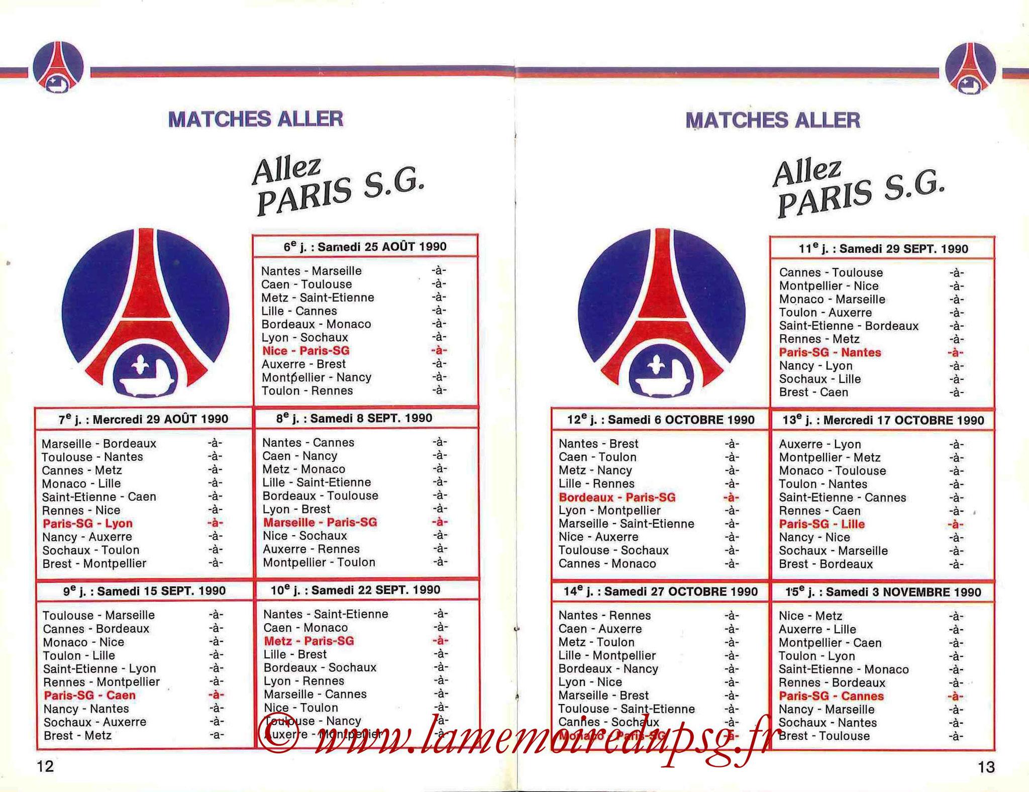 1990-91 - Guide de la Saison PSG - Pages 12 et 13