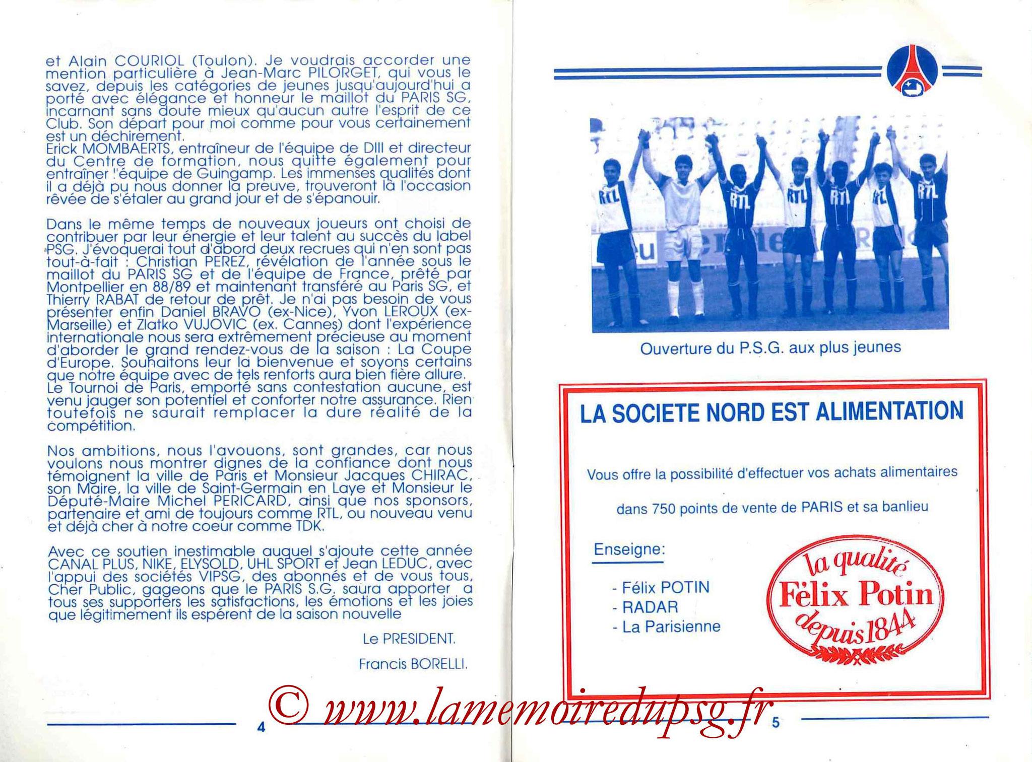 1989-90 - Guide de la Saison PSG - Pages 4 et 5