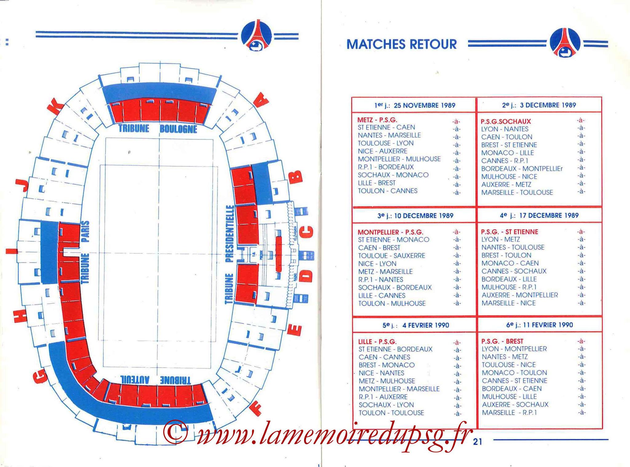 1989-90 - Guide de la Saison PSG - Pages 20 et 21