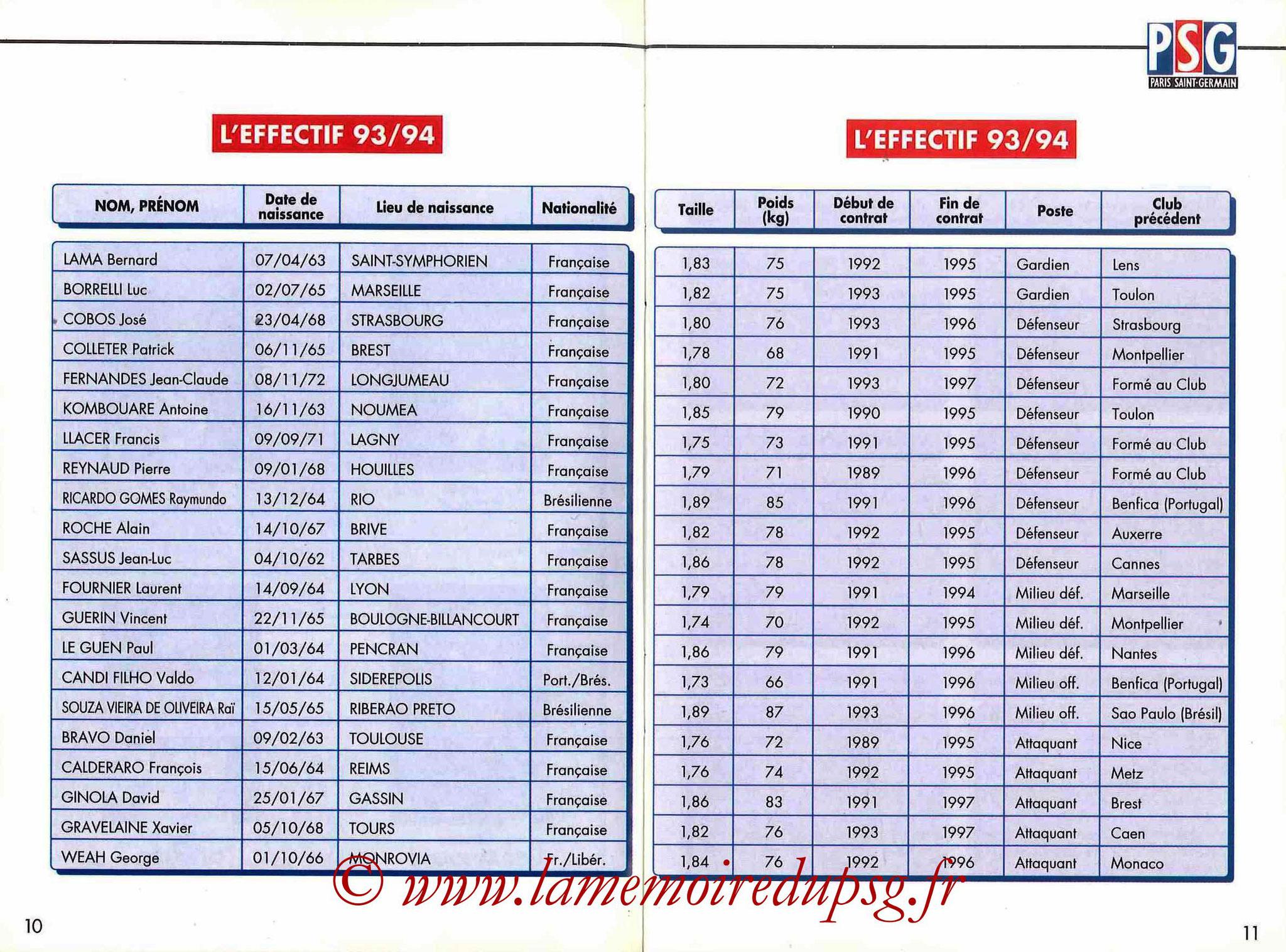 1993-94 - Guide de la Saison PSG - Pages 10 et 11