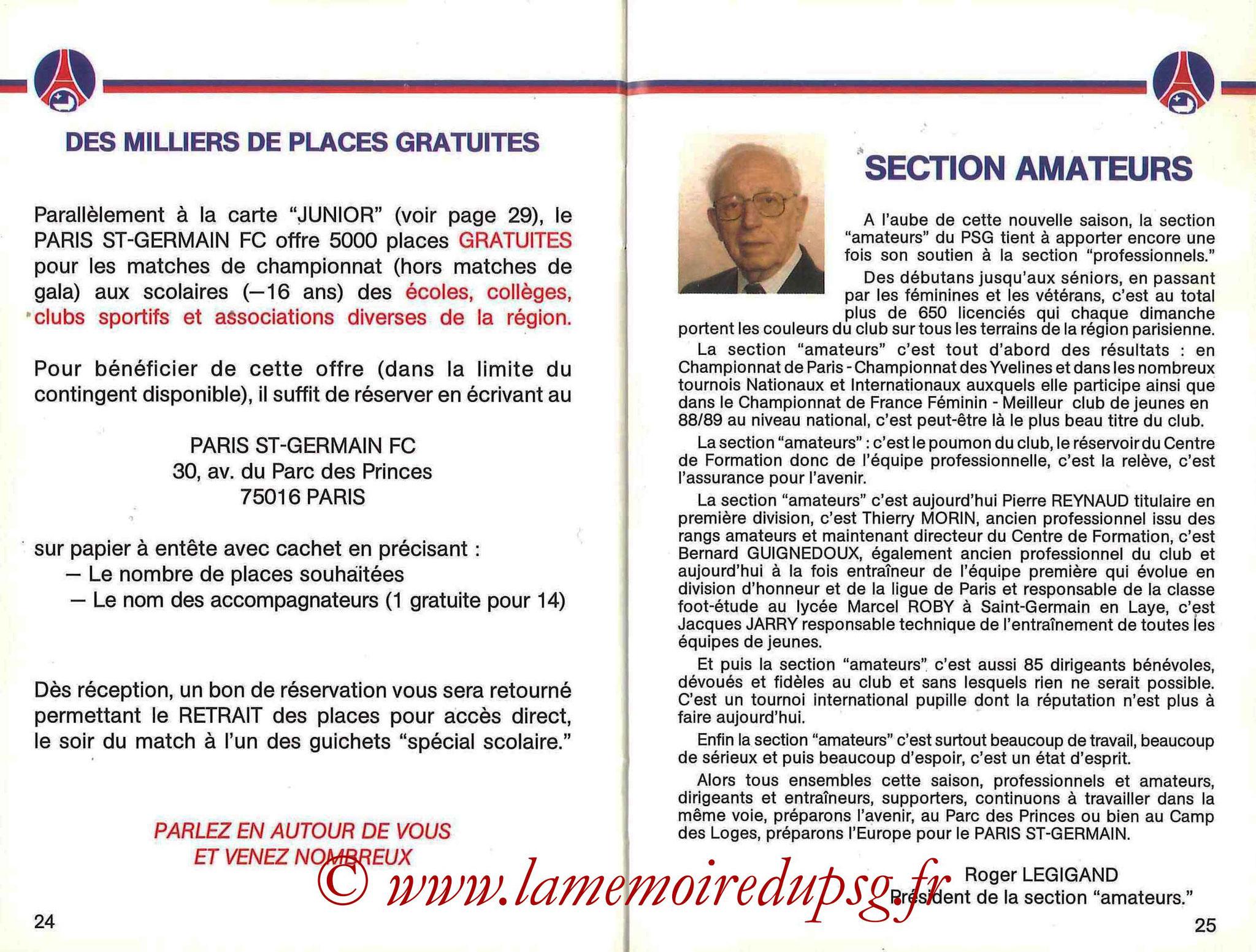 1990-91 - Guide de la Saison PSG - Pages 24 et 25