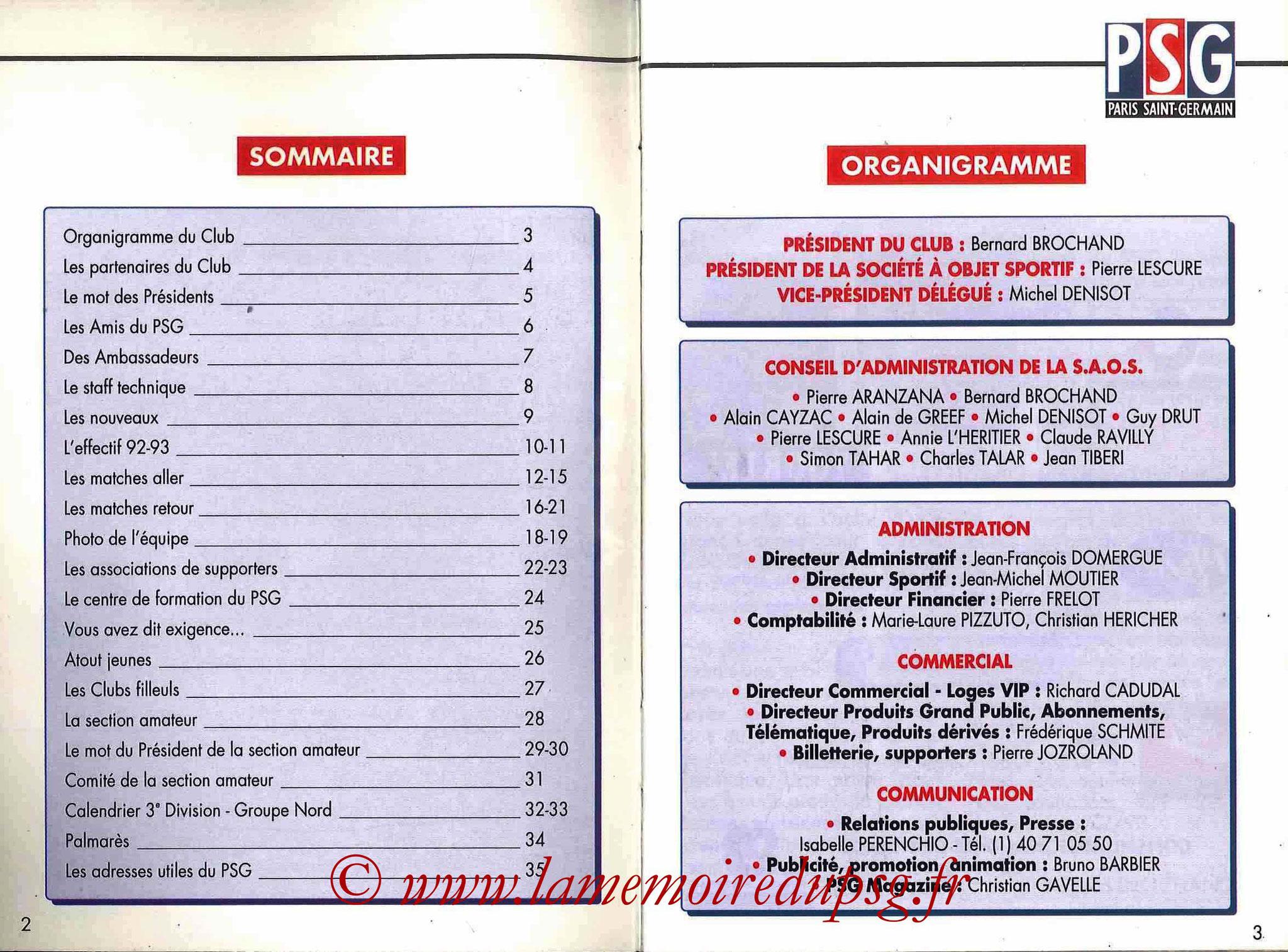 1992-93 - Guide de la Saison PSG - Pages 2 et 3