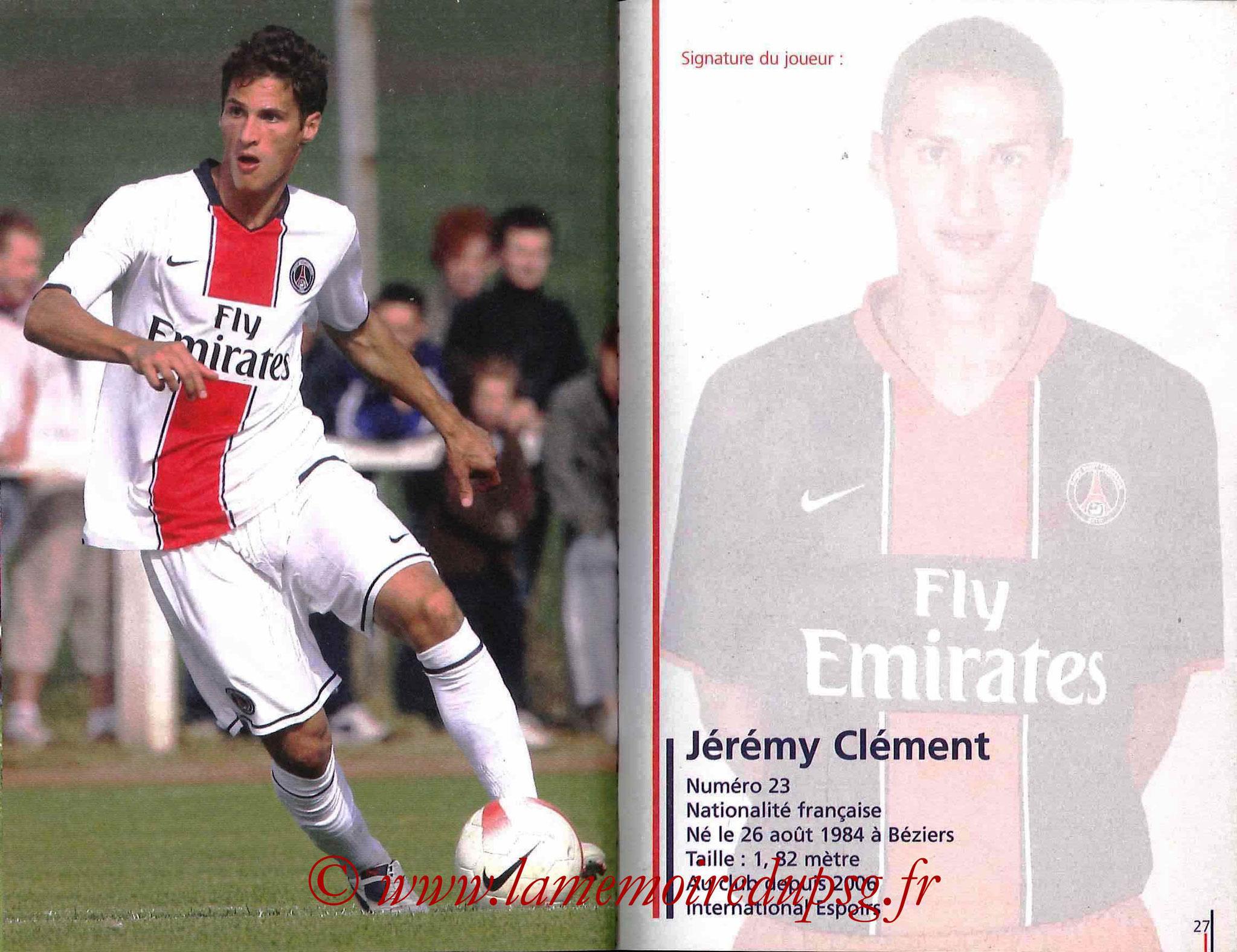2007-08 - Guide de la Saison PSG - Pages 26 et 27 - Jérémy CLEMENT