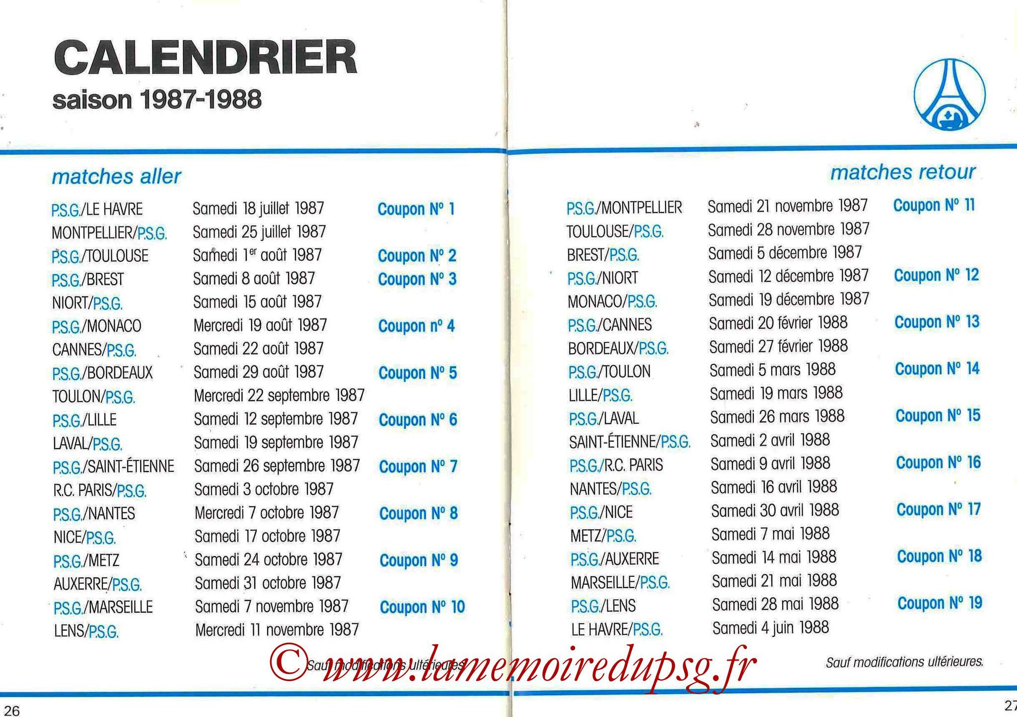 1987-88 - Passeport Abonné du PSG - Pages 26 et 27