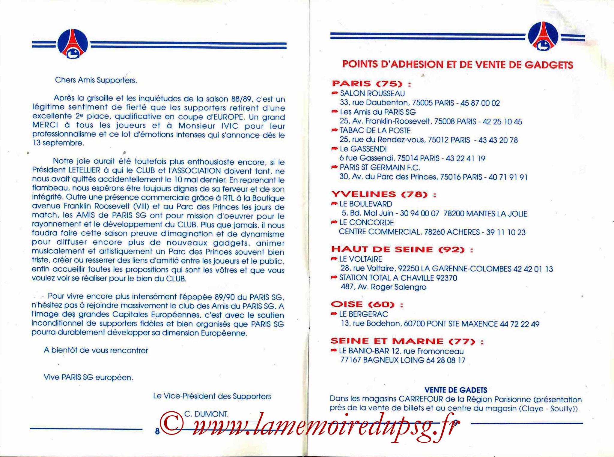 1989-90 - Guide de la Saison PSG - Pages 8 et 9