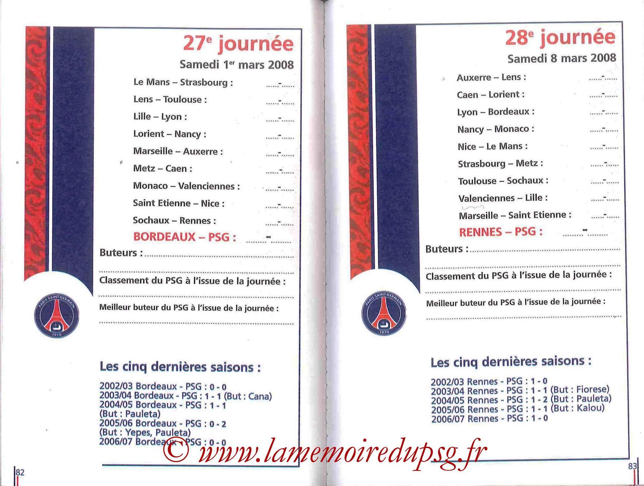 2007-08 - Guide de la Saison PSG - Pages 82 et 83