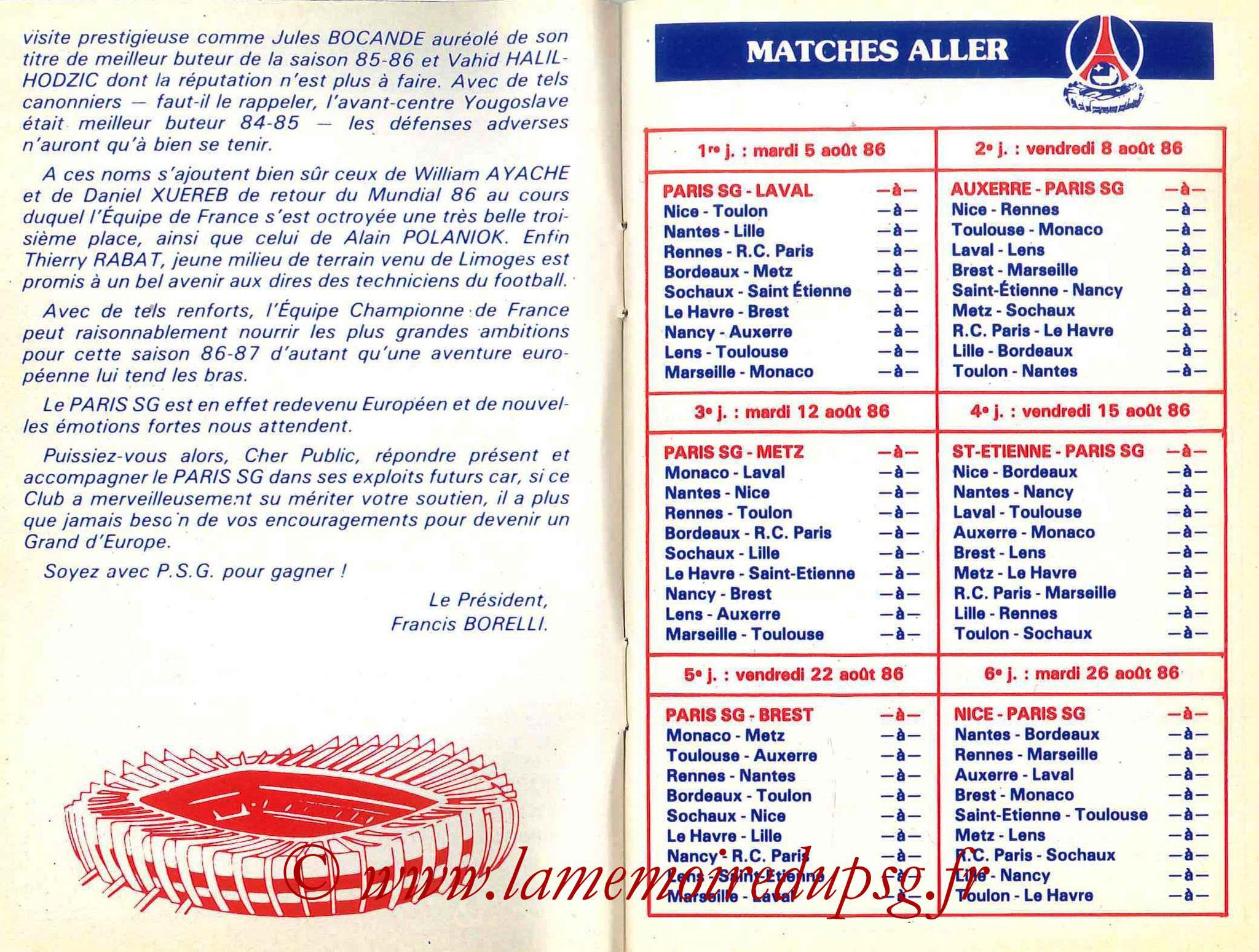 1986-87 - Guide de la Saison PSG - Pages 4 et 5