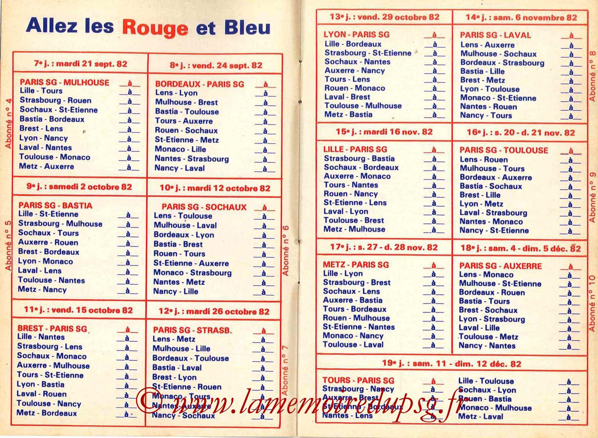 1982-83 - Guide de la Saison PSG - Pages 6 et 7