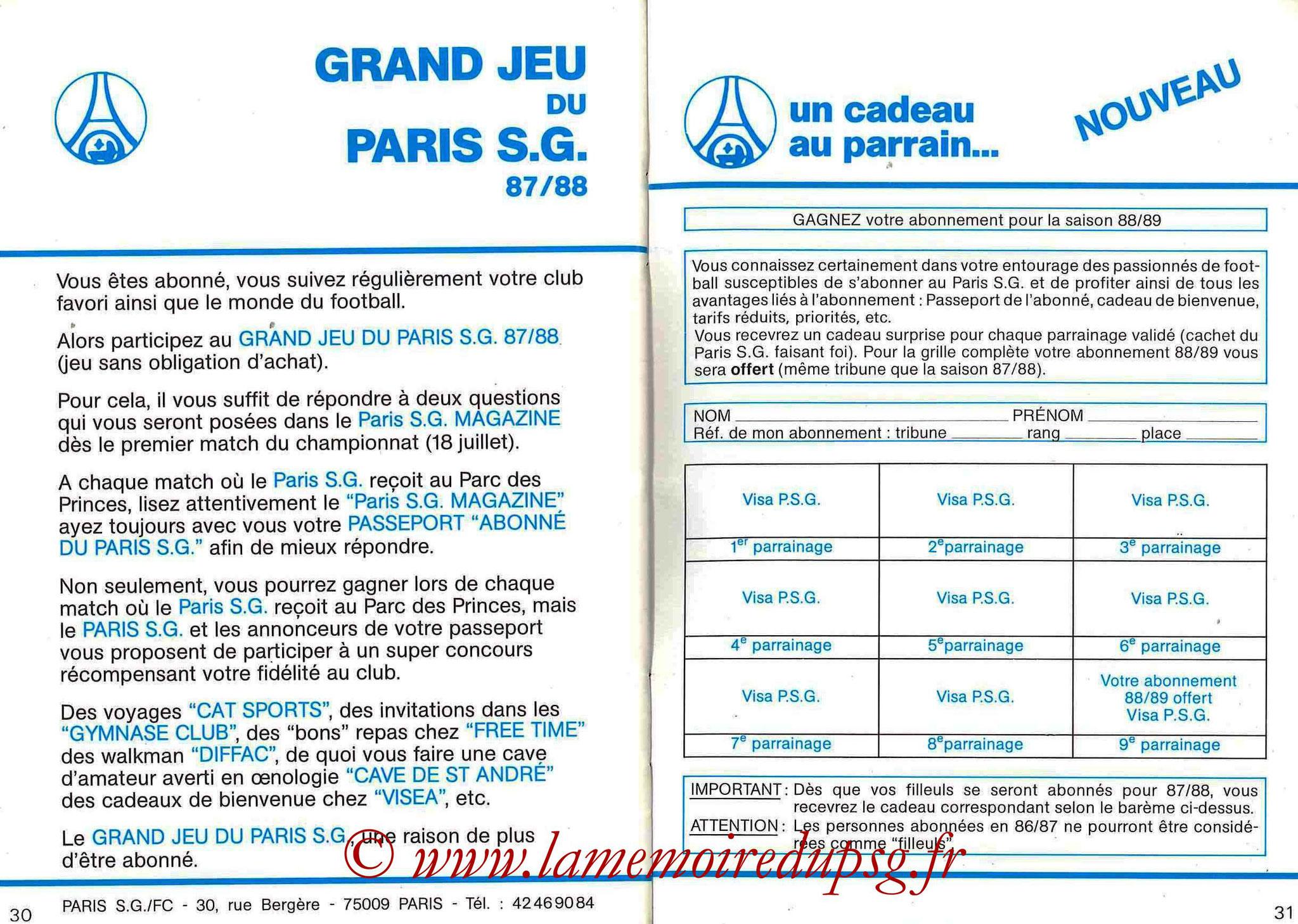 1987-88 - Passeport Abonné du PSG - Pages 30 et 31