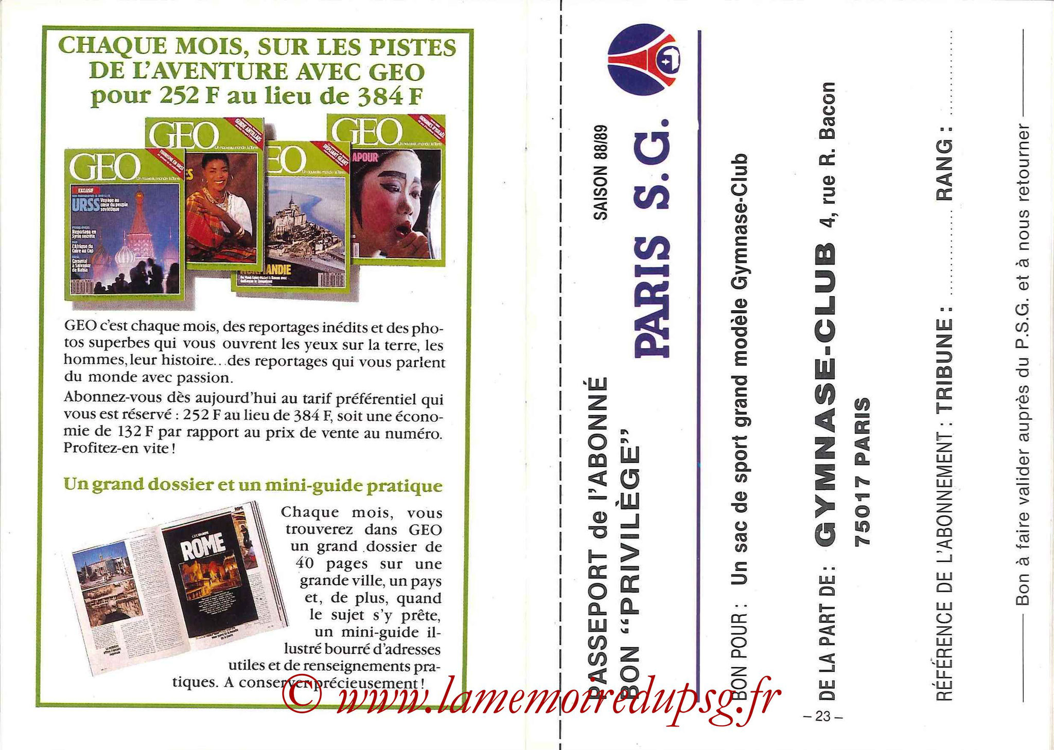 1988-89 - Passeport Abonné du PSG - Pages 22 et 23