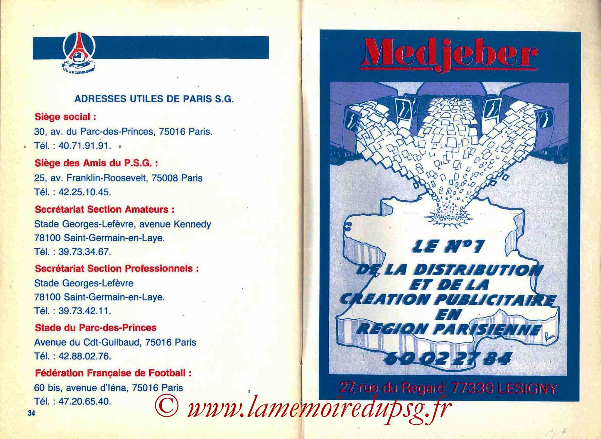 1988-89 - Guide de la Saison PSG - Pages 34 et 35
