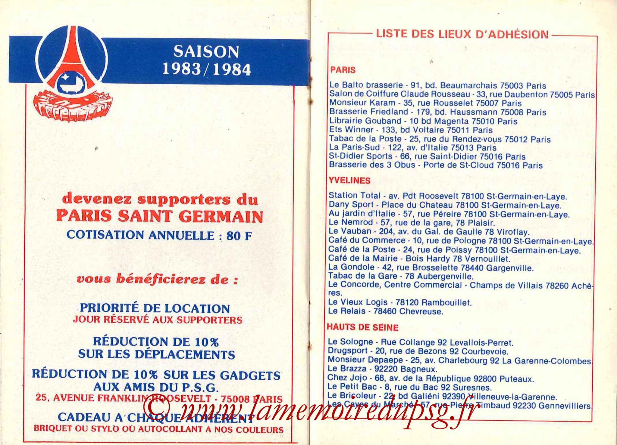 1983-84 - Guide de la Saison PSG - Pages 16 et 17