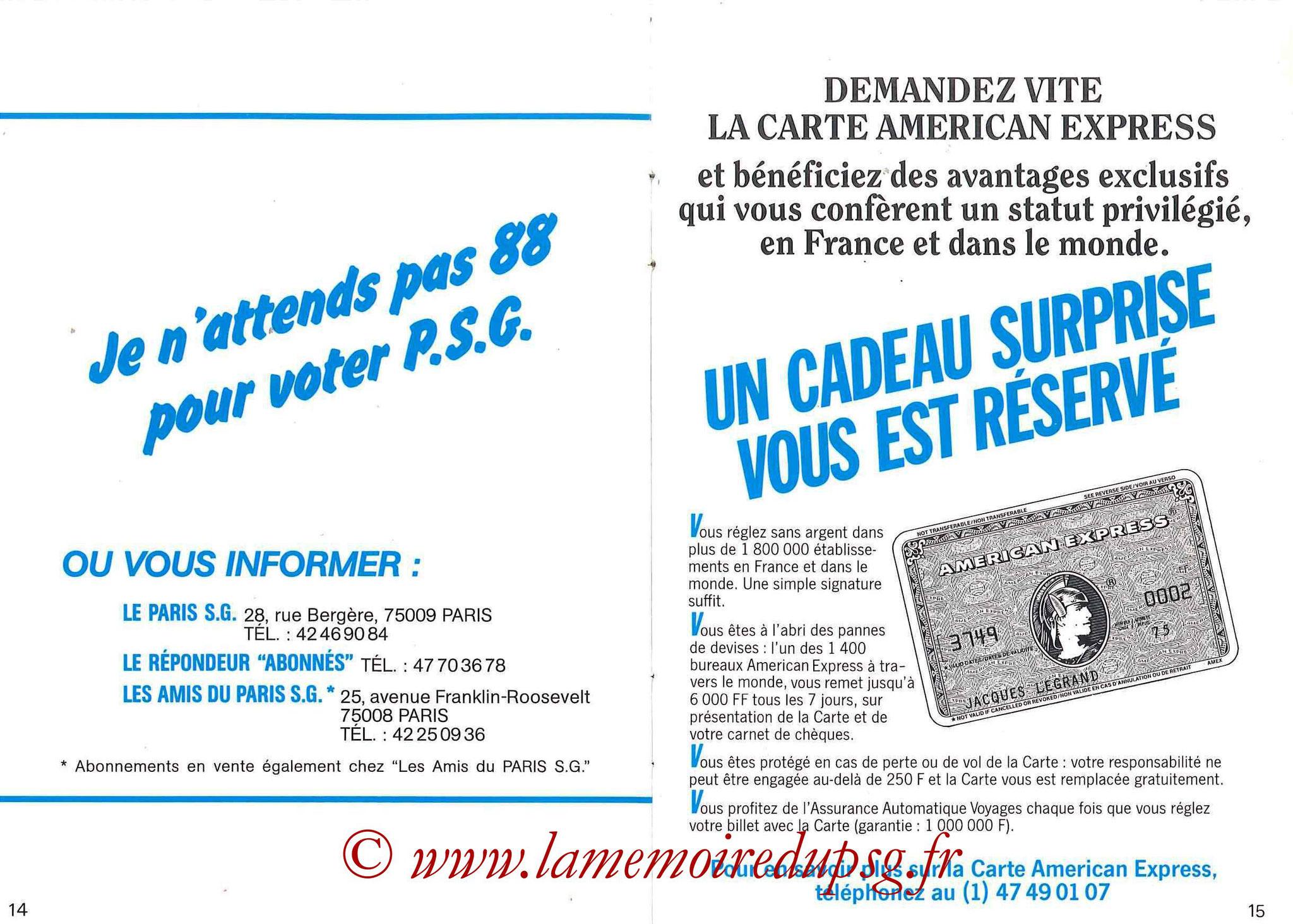 1987-88 - Passeport Abonné du PSG - Pages 14 et 15