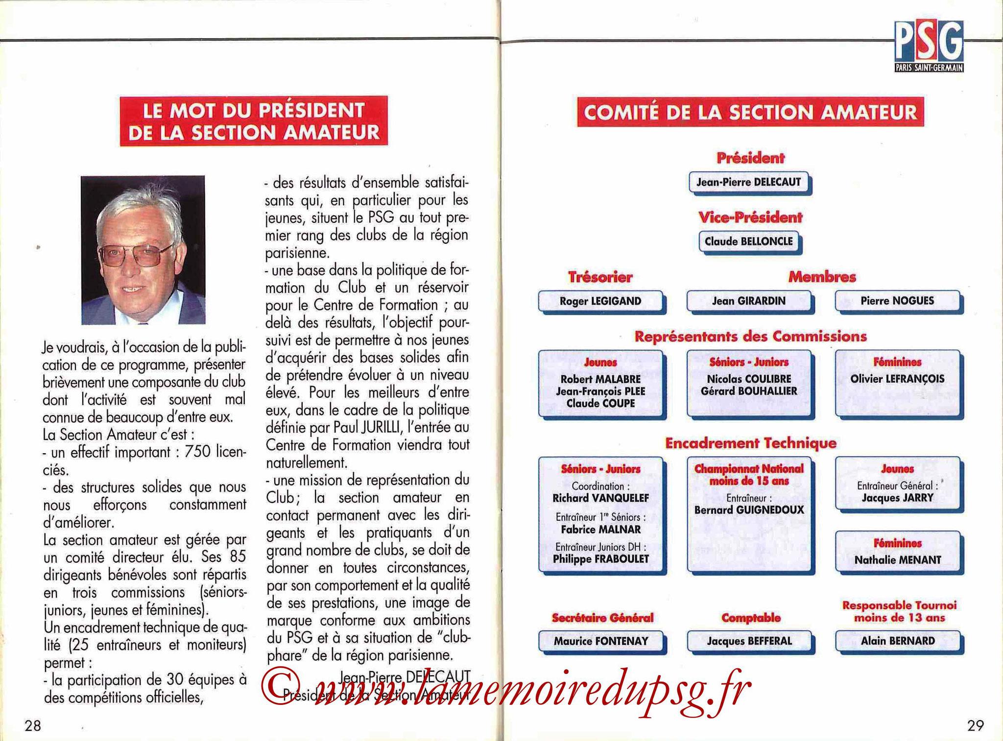 1993-94 - Guide de la Saison PSG - Pages 28 et 29