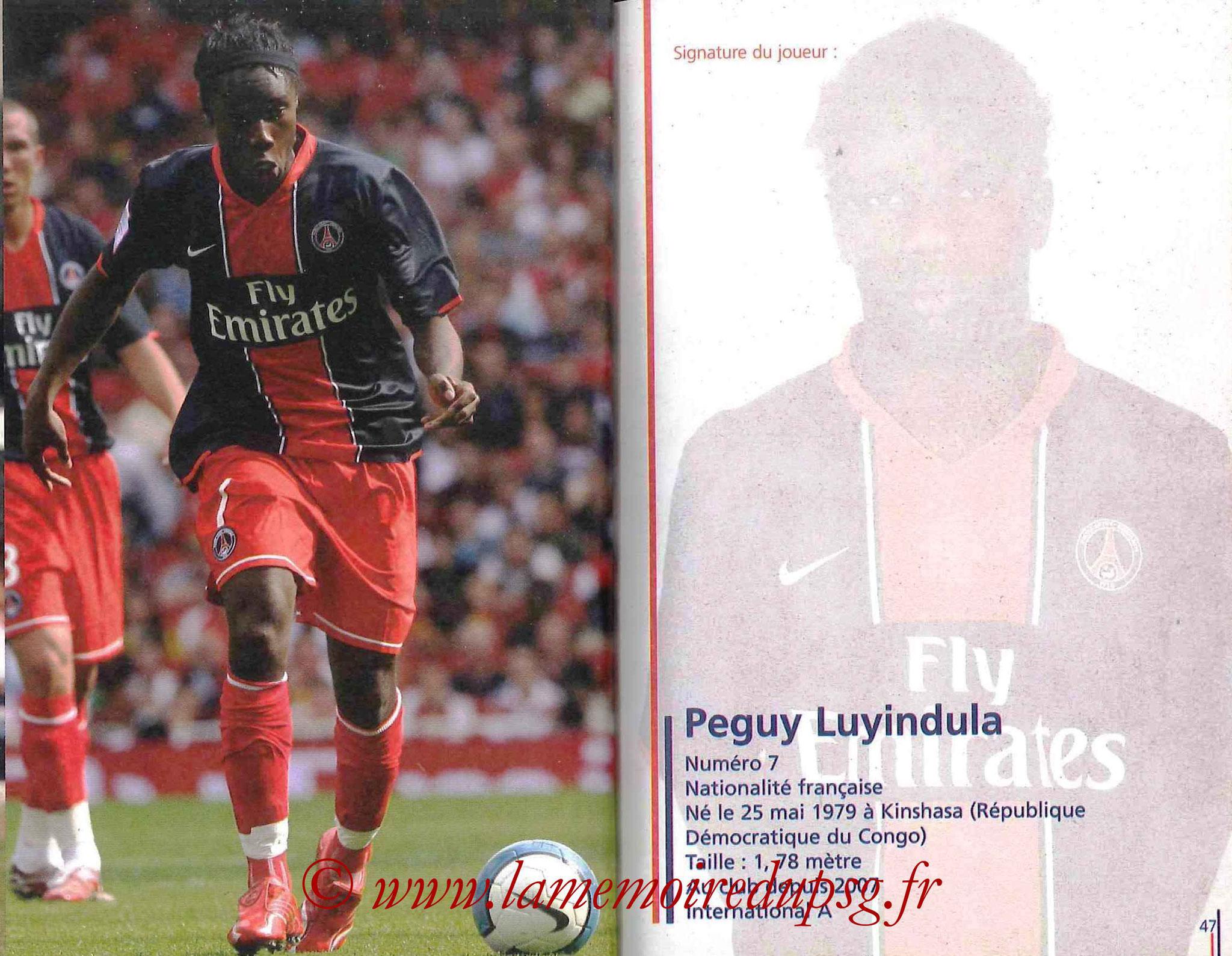2007-08 - Guide de la Saison PSG - Pages 46 et 47 - Peguy LUYINDULA