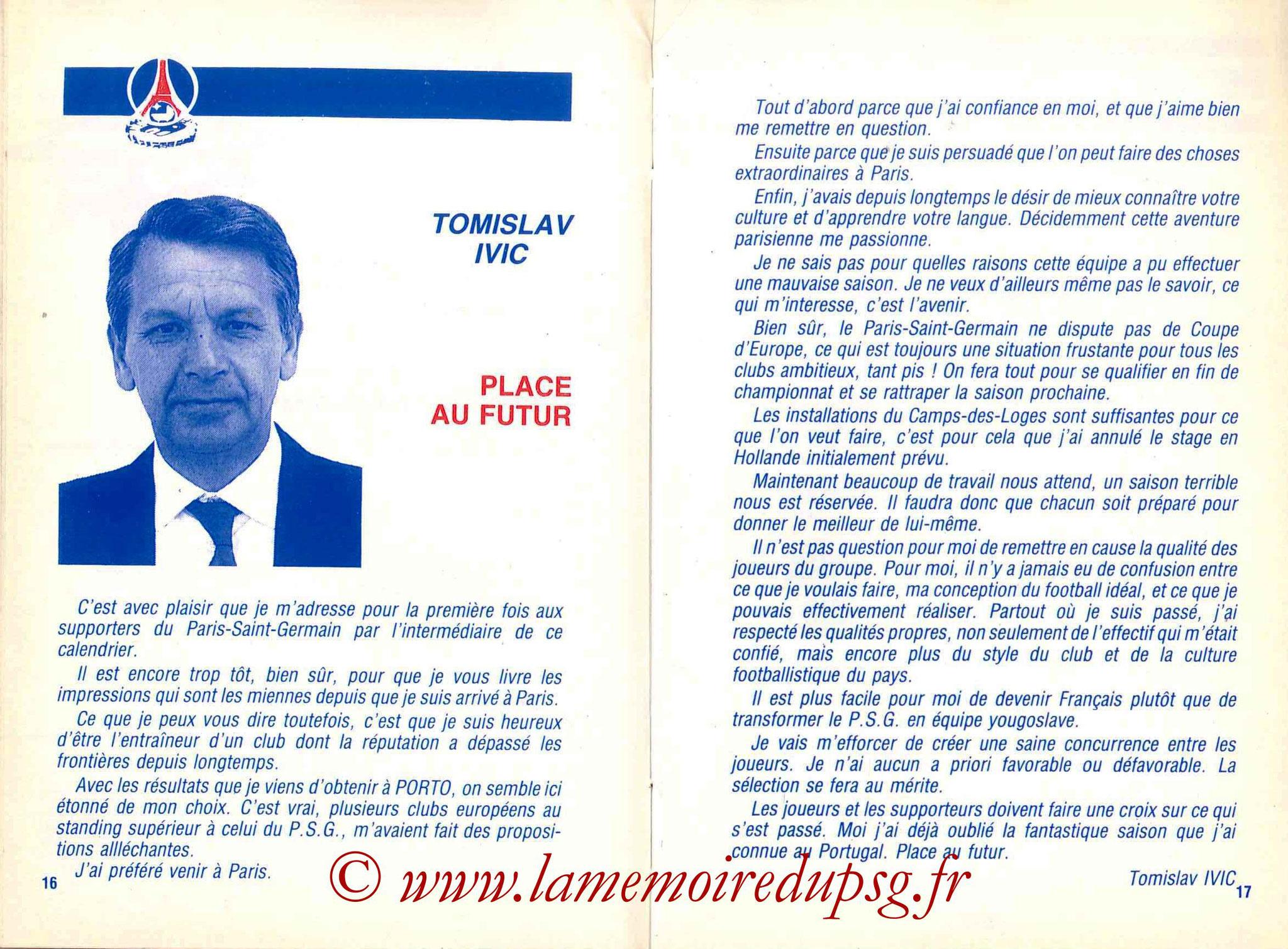 1988-89 - Guide de la Saison PSG - Pages 16 et 17
