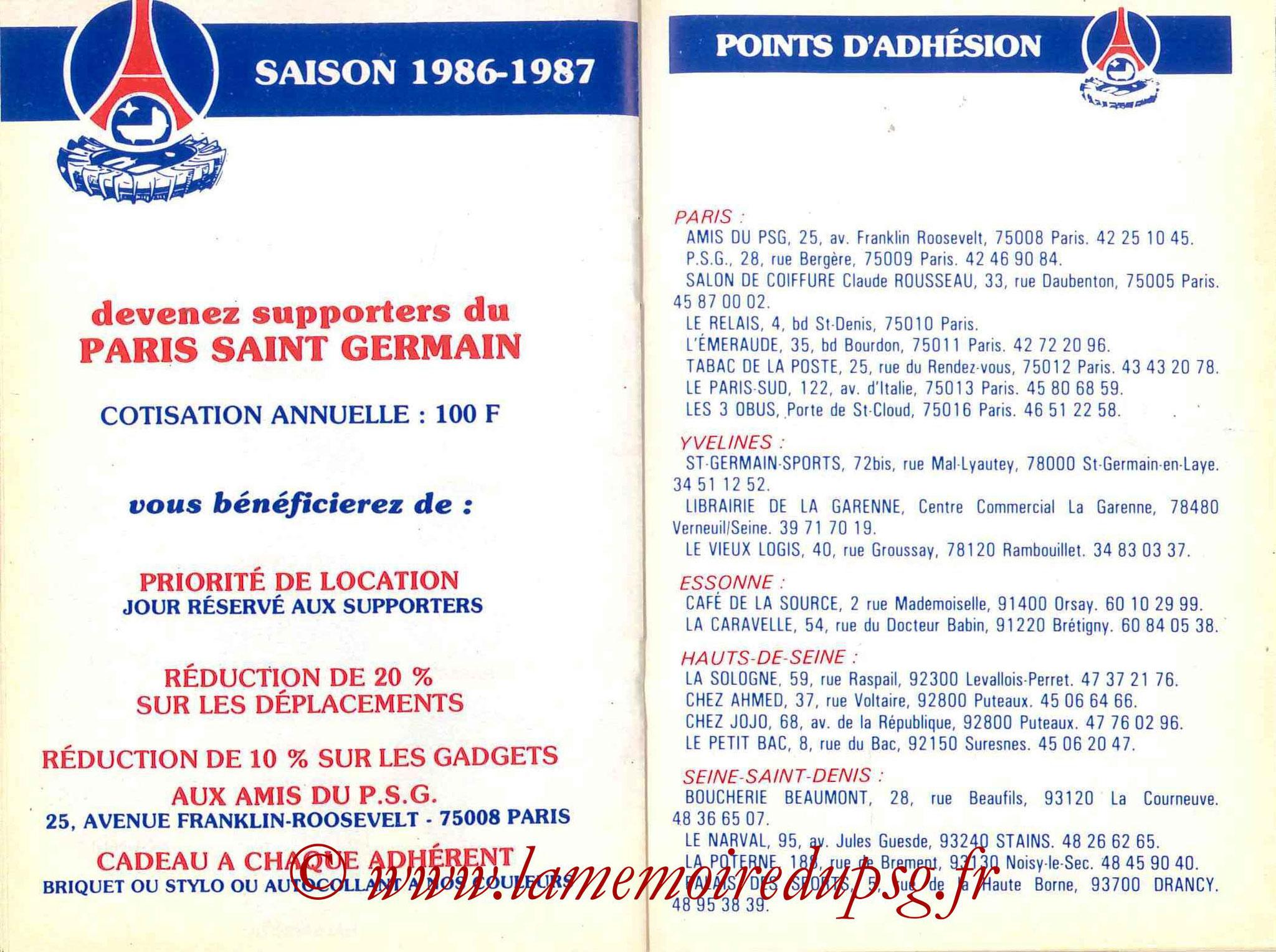 1986-87 - Guide de la Saison PSG - Pages 20 et 21