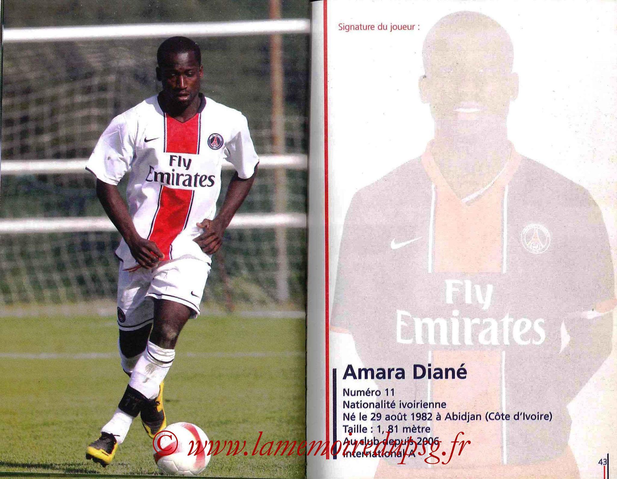 2007-08 - Guide de la Saison PSG - Pages 42 et 43 - Amara DIANE