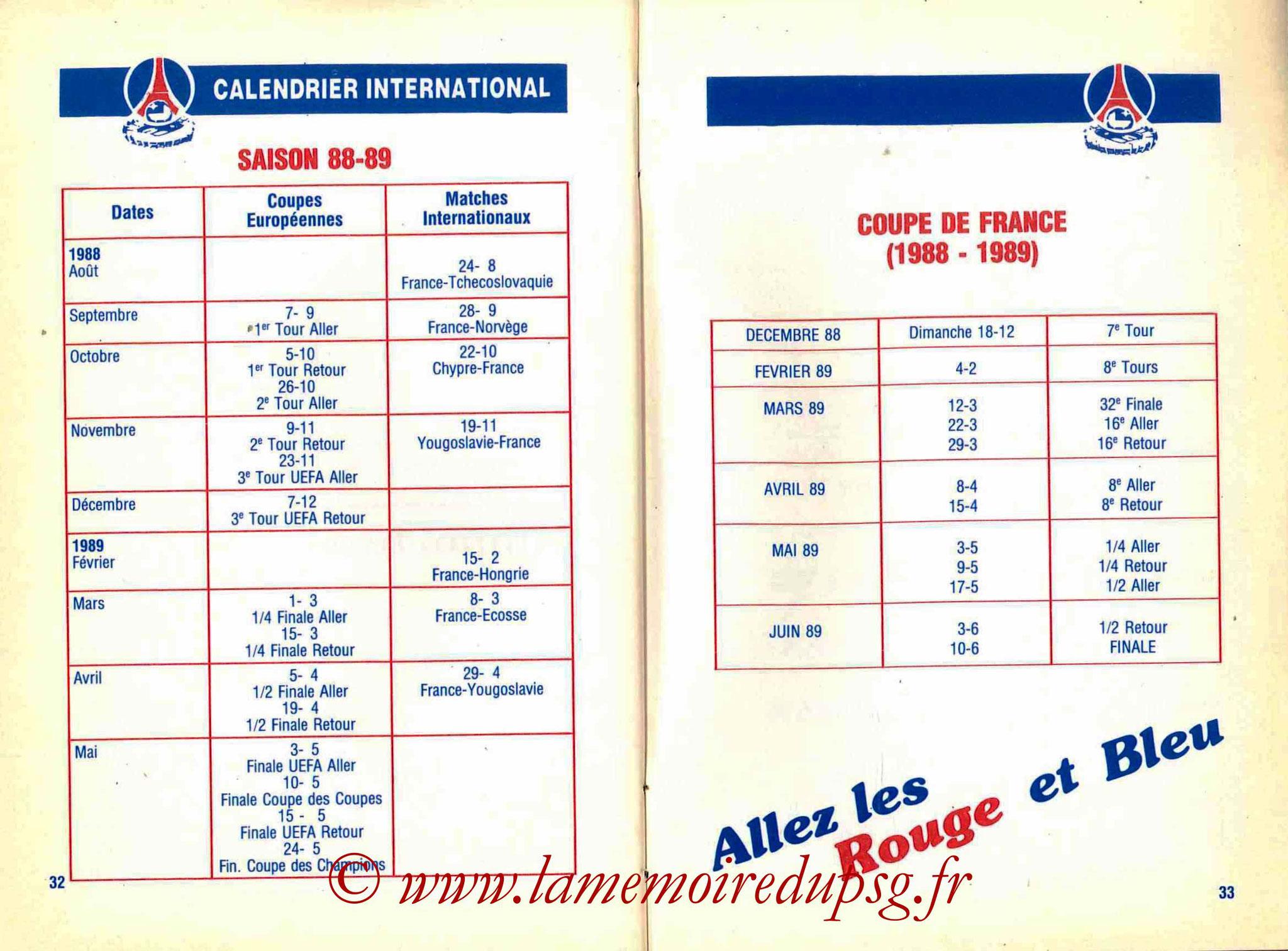 1988-89 - Guide de la Saison PSG - Pages 32 et 33