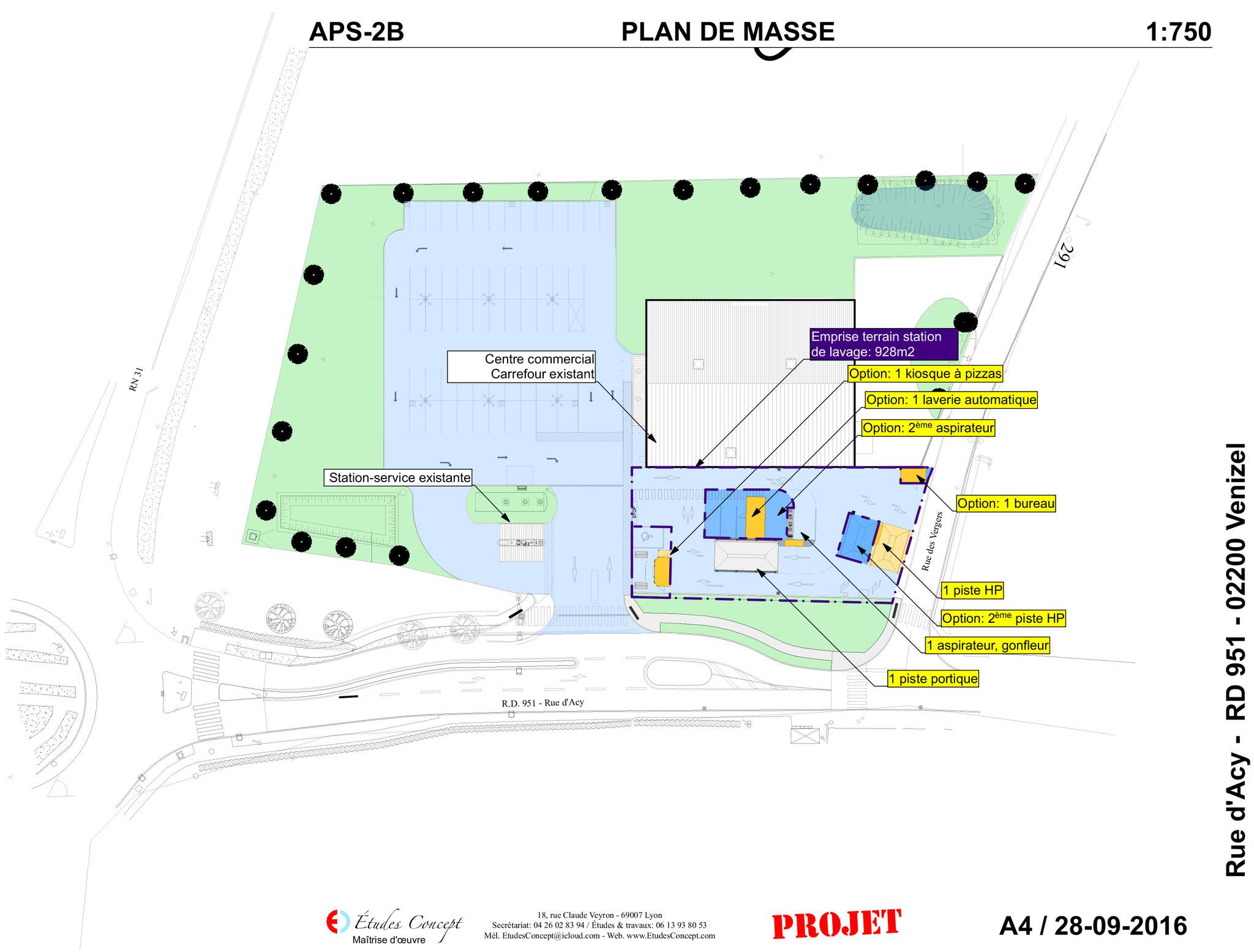 Plan pour station de lavage etudes concept for Plan de situation pour permis de construire