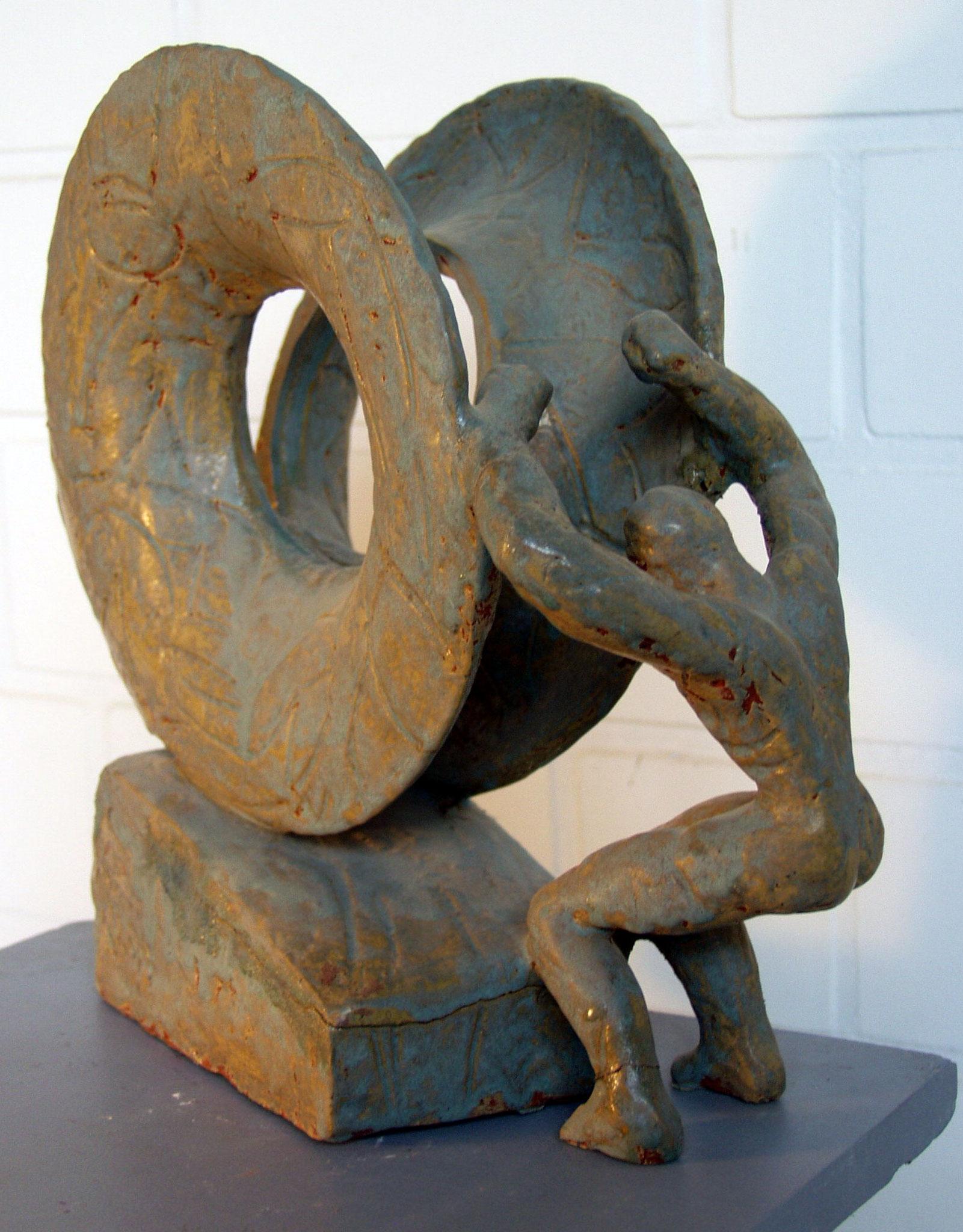 Sisyphus, roter Ton, Höhe = 31 cm