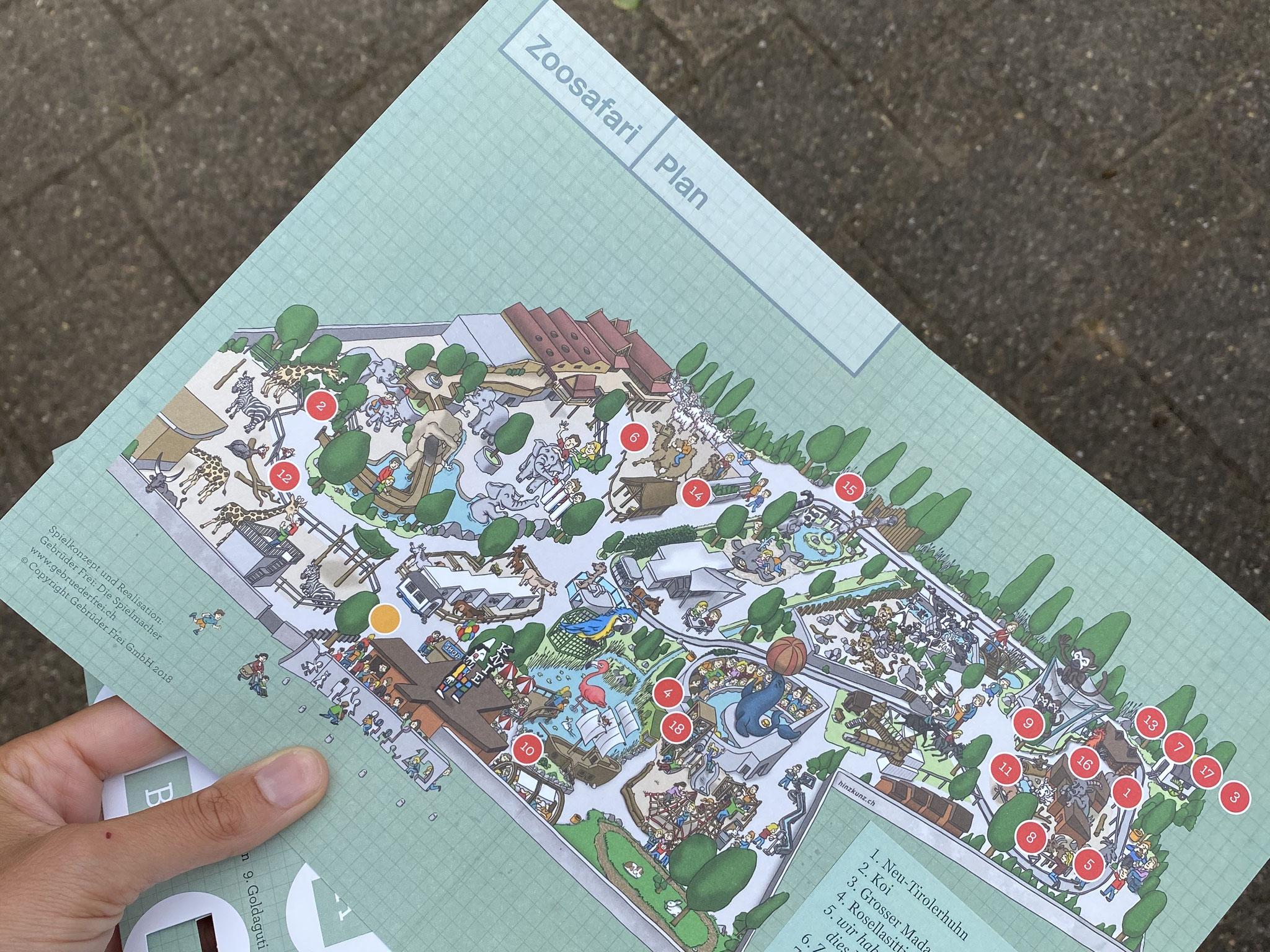 Der Zoosafari Plan zeigt wo sich die verschiedenen Posten befinden.