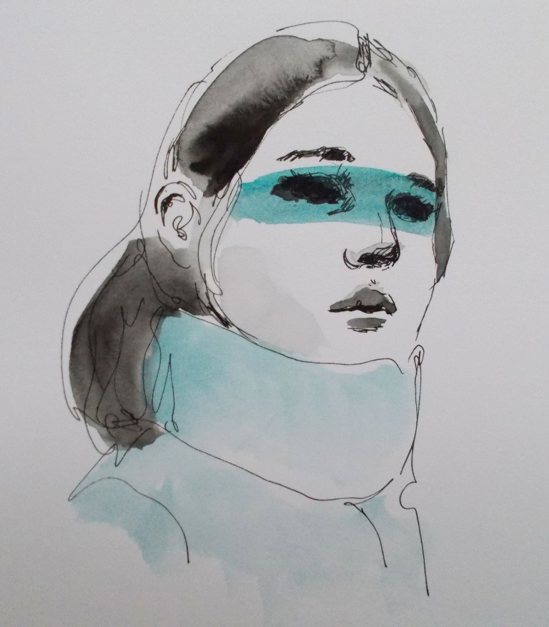 Portrait, 21 x 15 cm,  Aquatint on paper