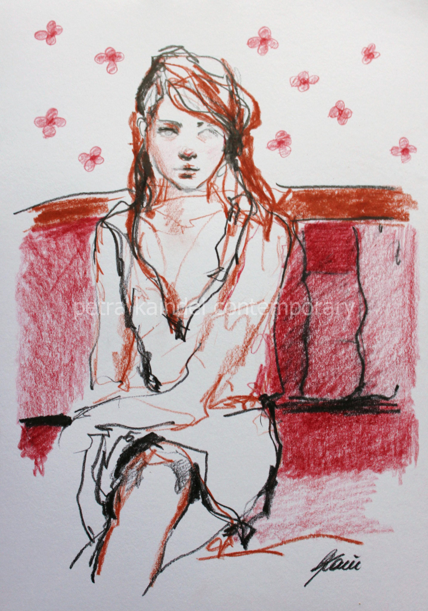 """Flowers"" 21 x 29,7 cm, pencils on paper"