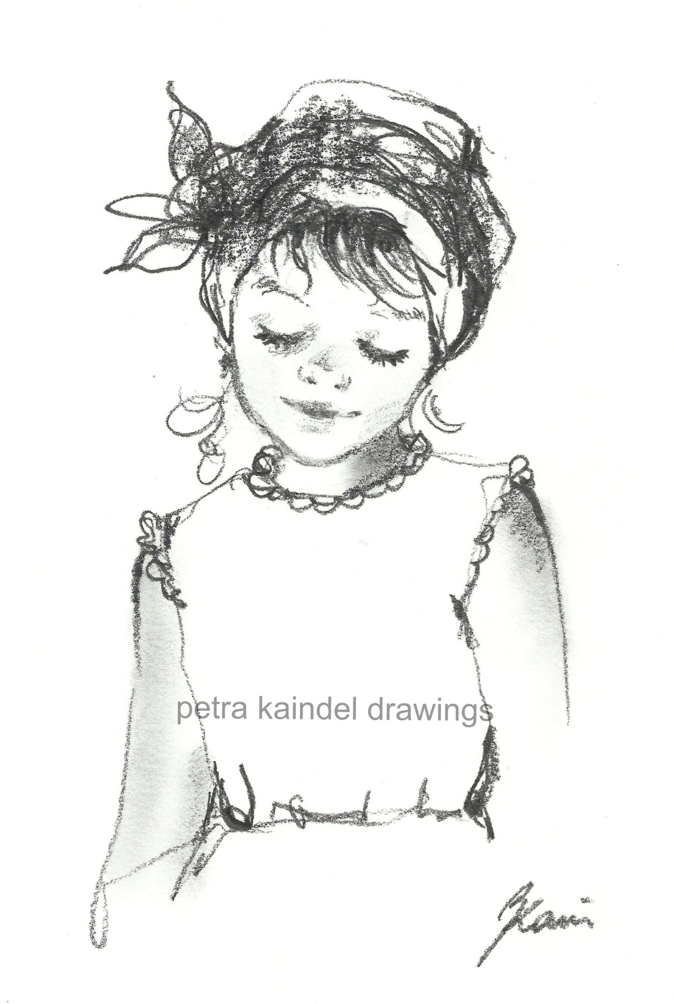 """""""Sweet little girl"""", small size, monolith on paper - Sold"""