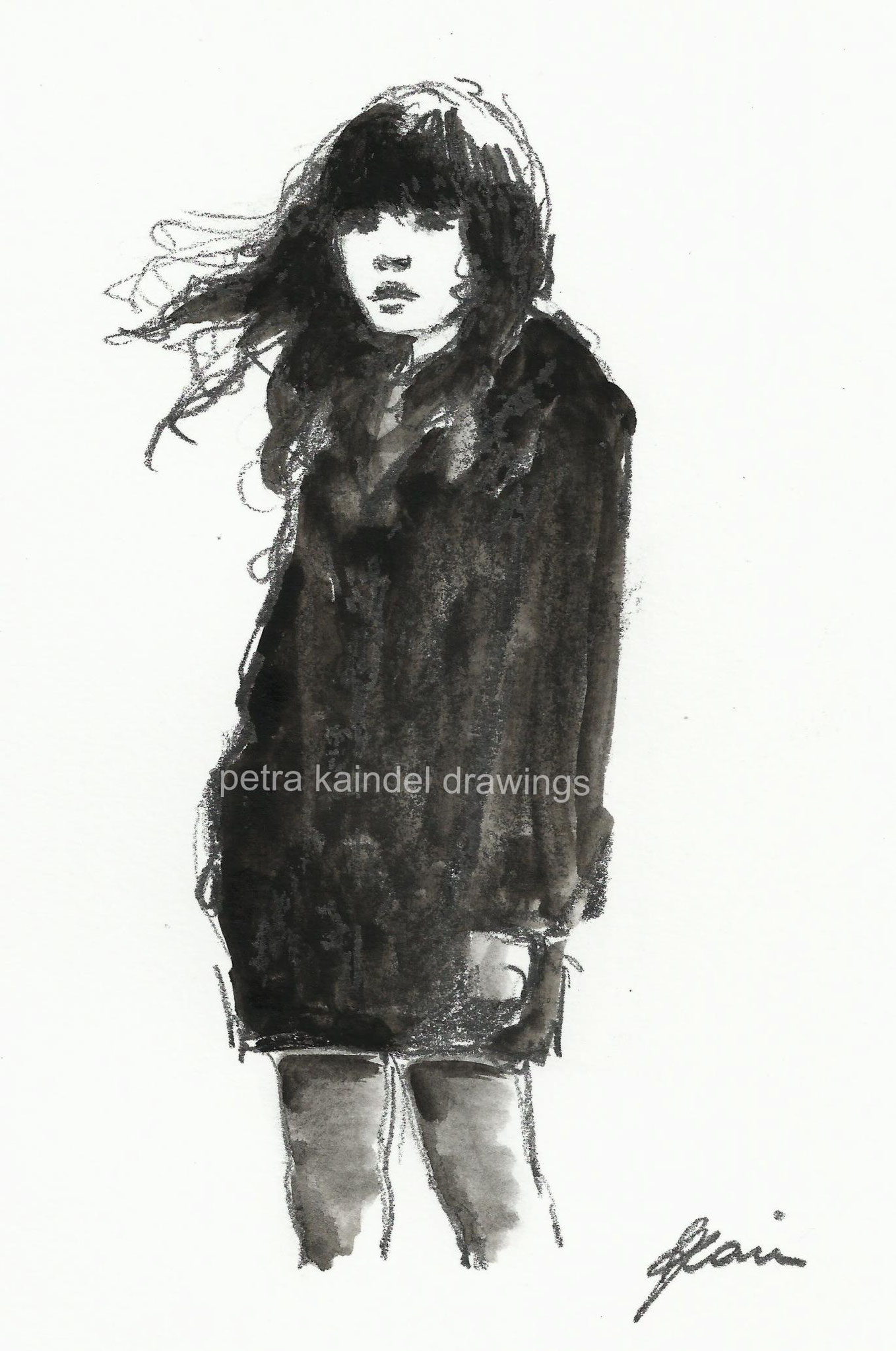 """""""Black coat"""", small size, monolith and water colors on paper"""
