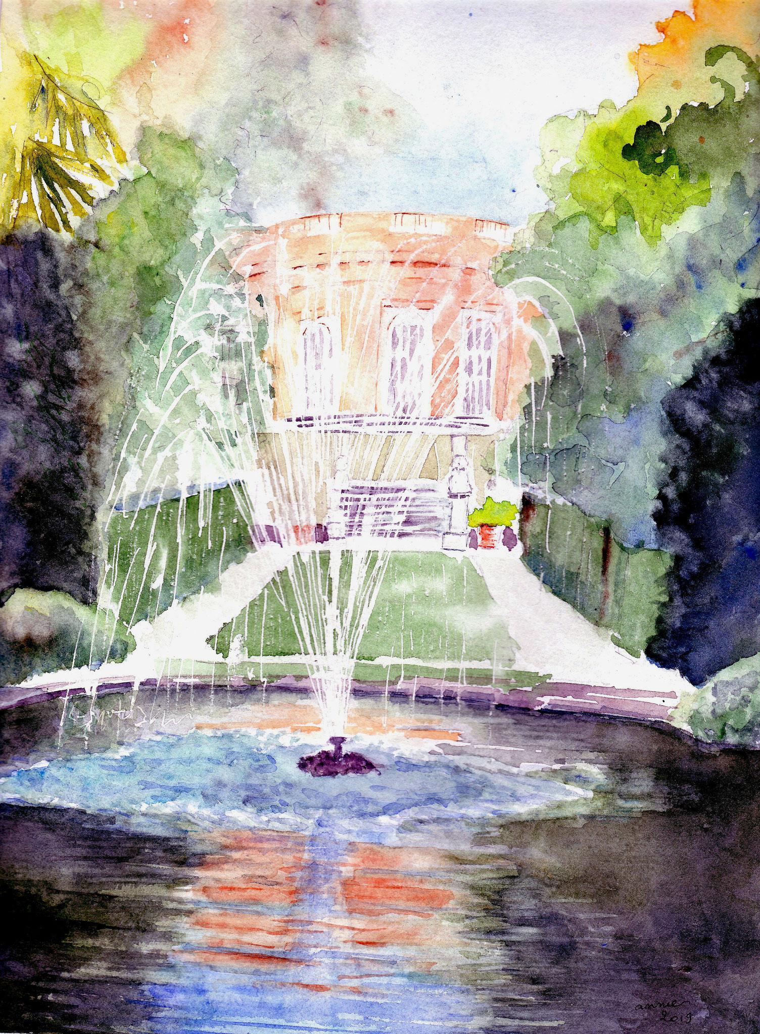 Le château de la Reynerie, le bassin et le jet d'eau