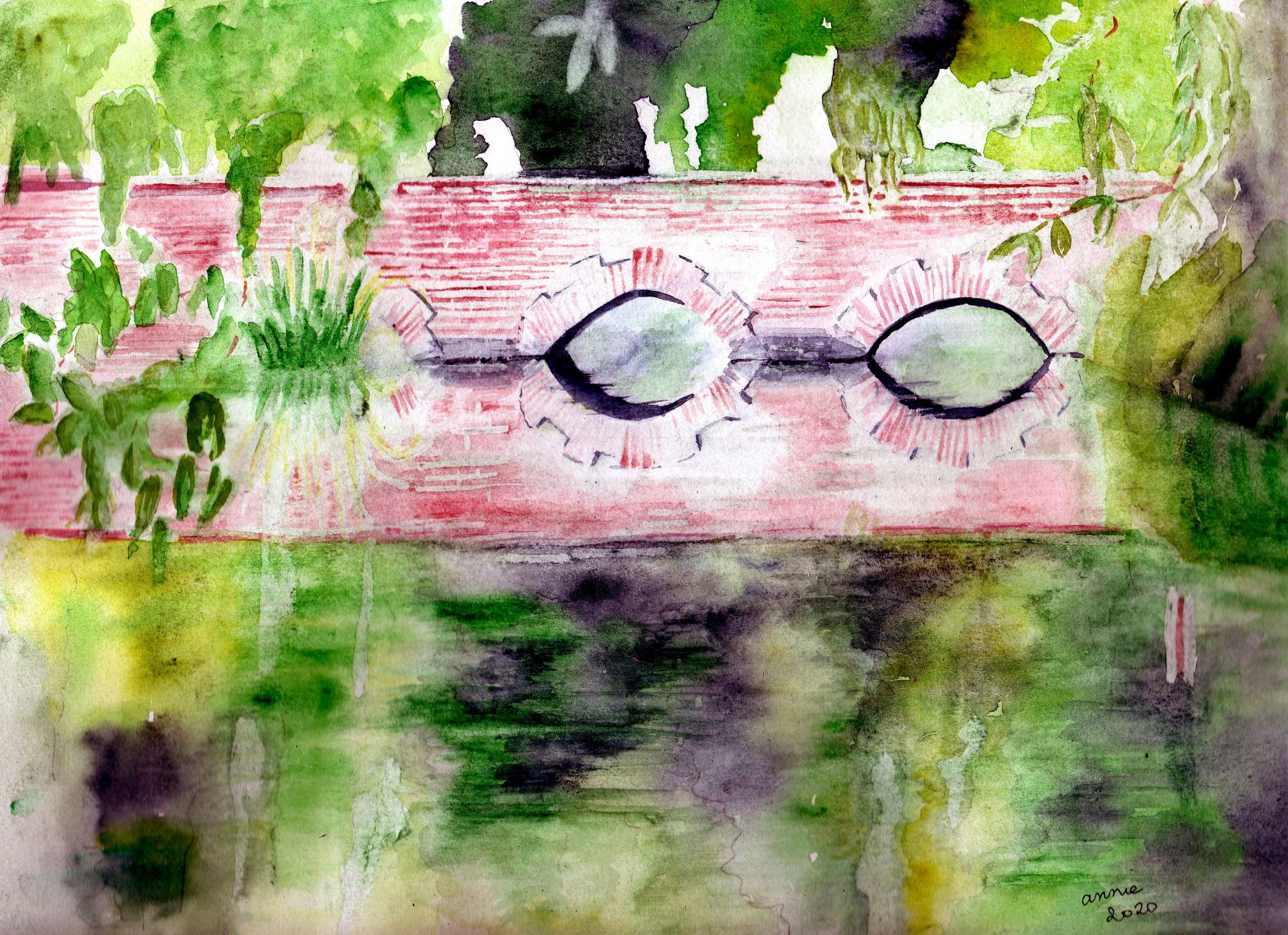 Le pont dans le parc inspiré d'une photo de Jehanne